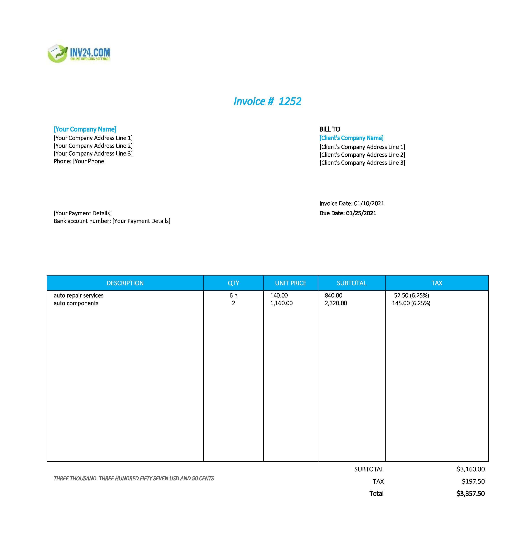 Auto repair invoice template