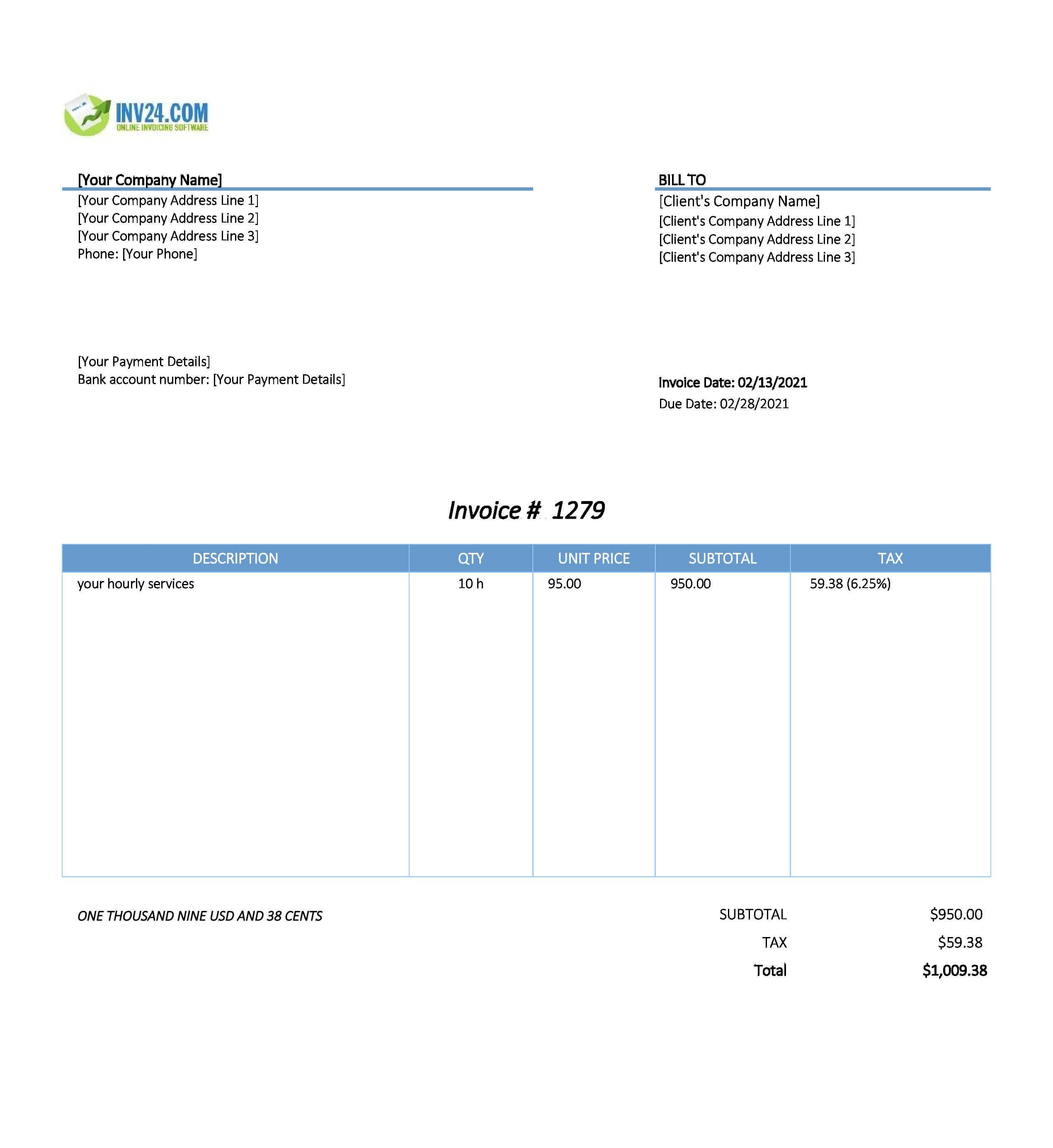 Hourly invoice template / timesheet