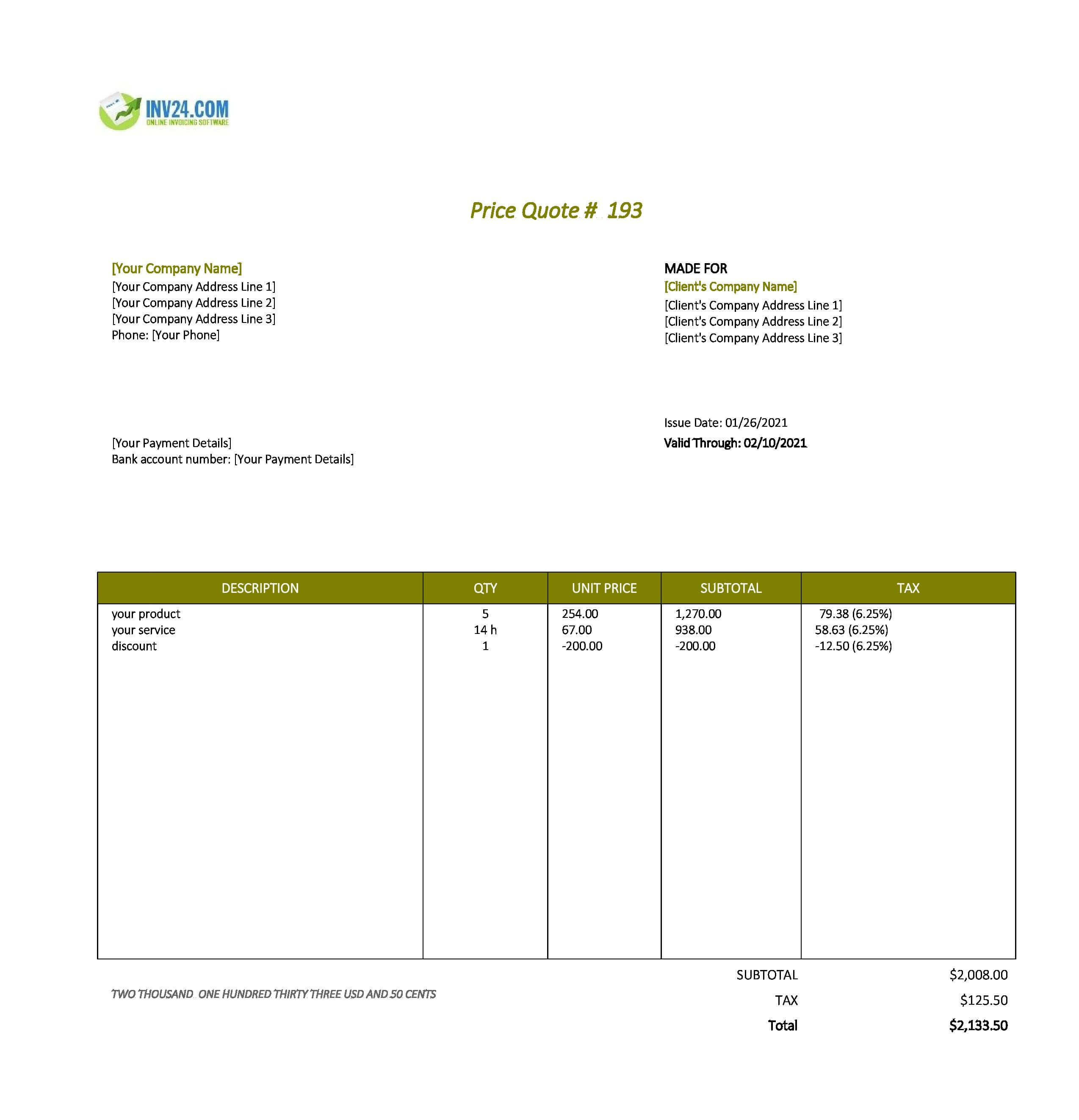 quote template google sheets