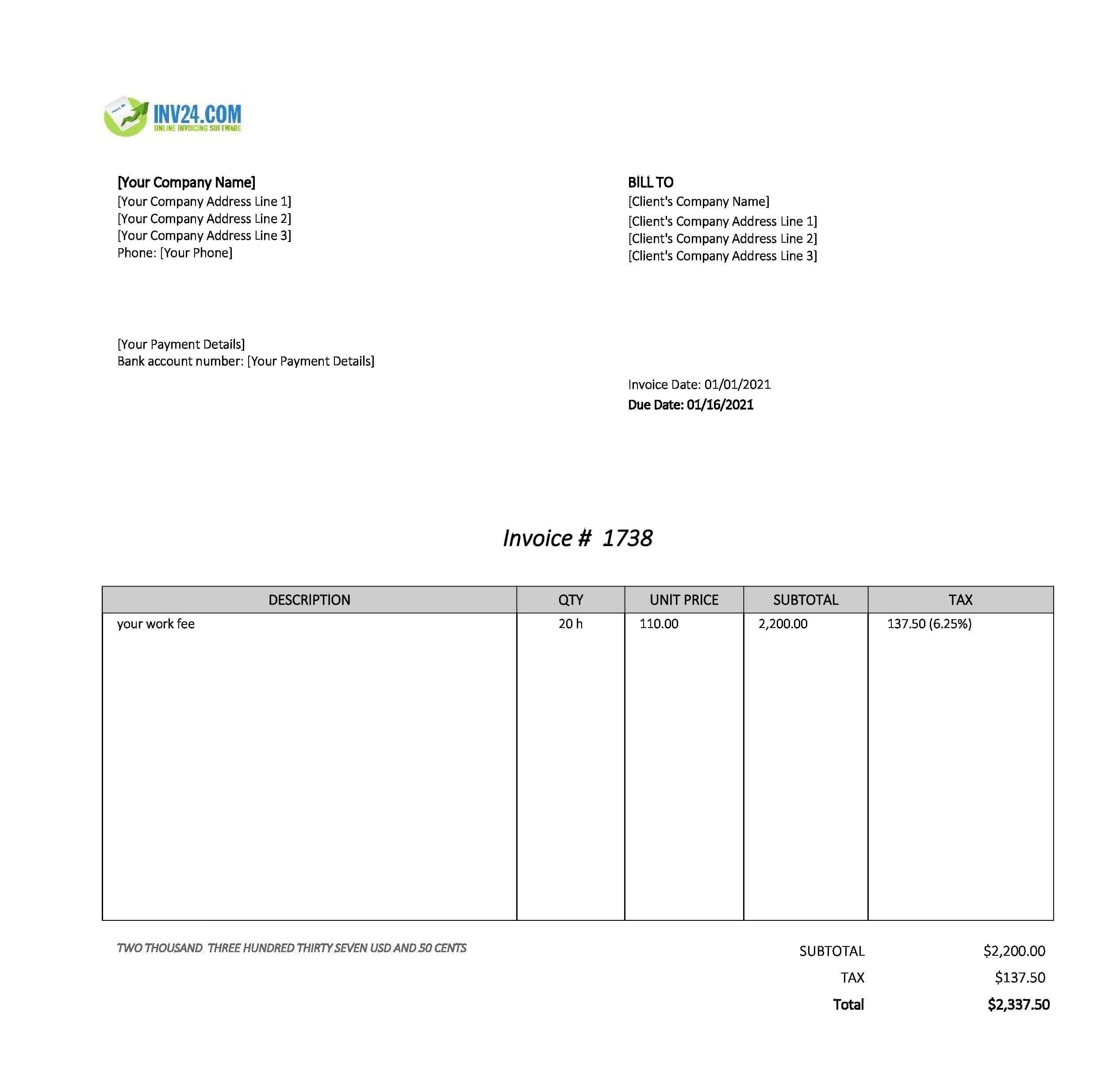 Work invoice template