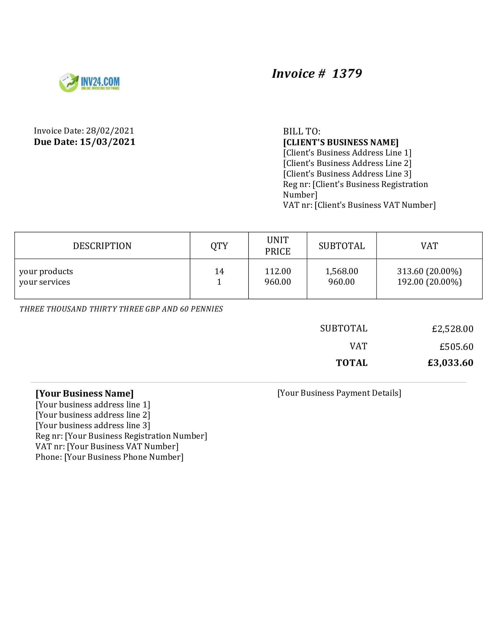 basic invoice template uk