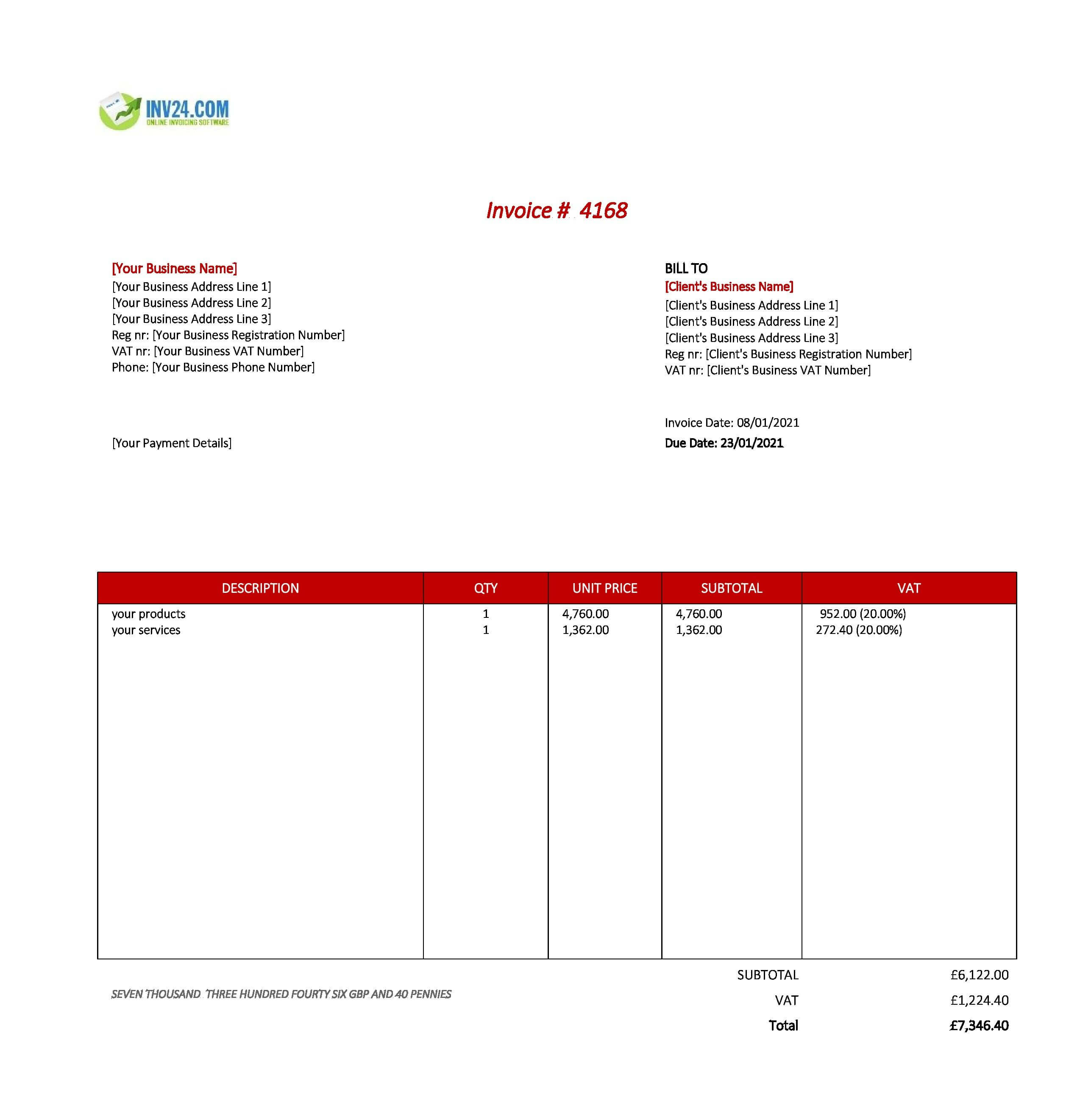 business invoice template uk