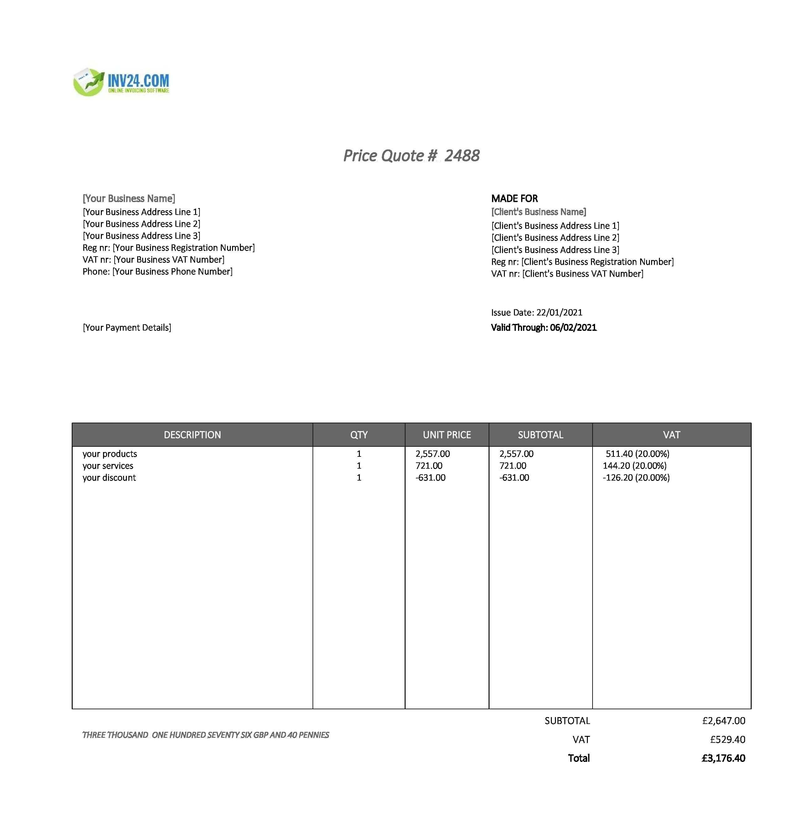 business quote template uk
