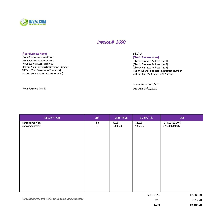 car repair invoice template uk