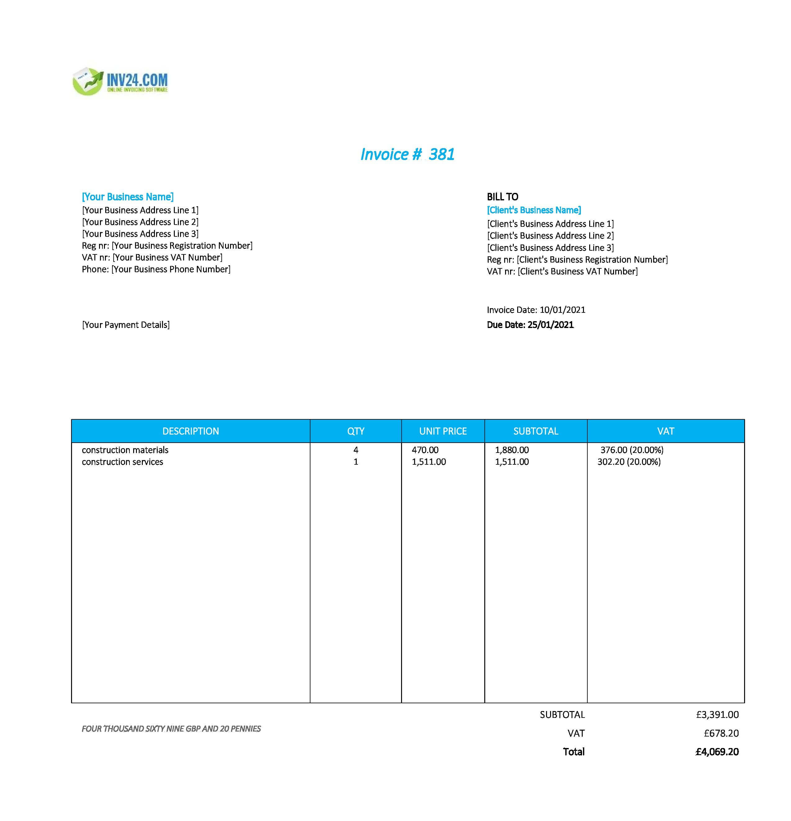 construction invoice template uk
