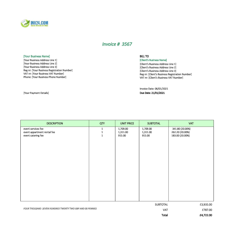event uk invoice template