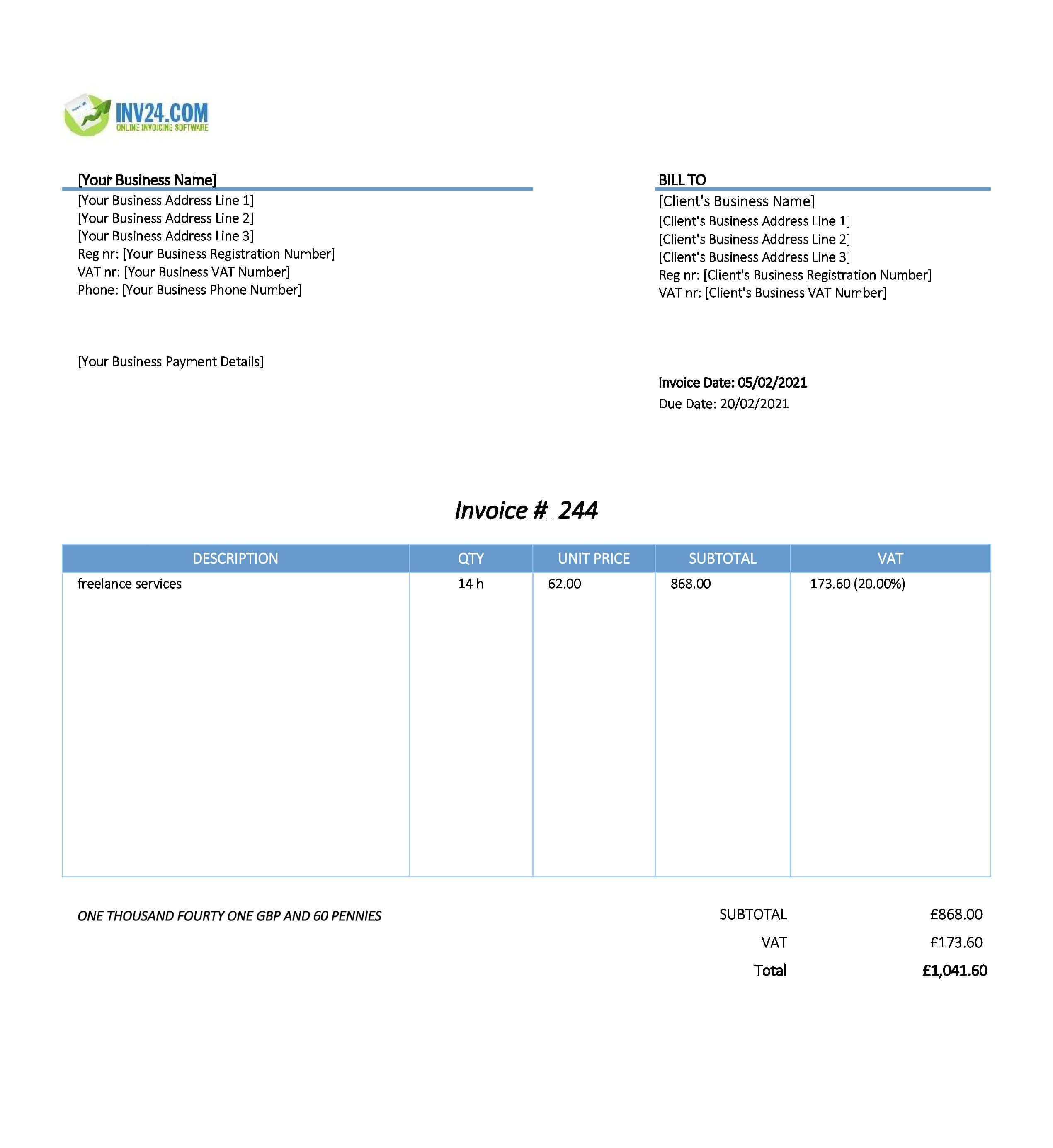 freelancer invoice template uk
