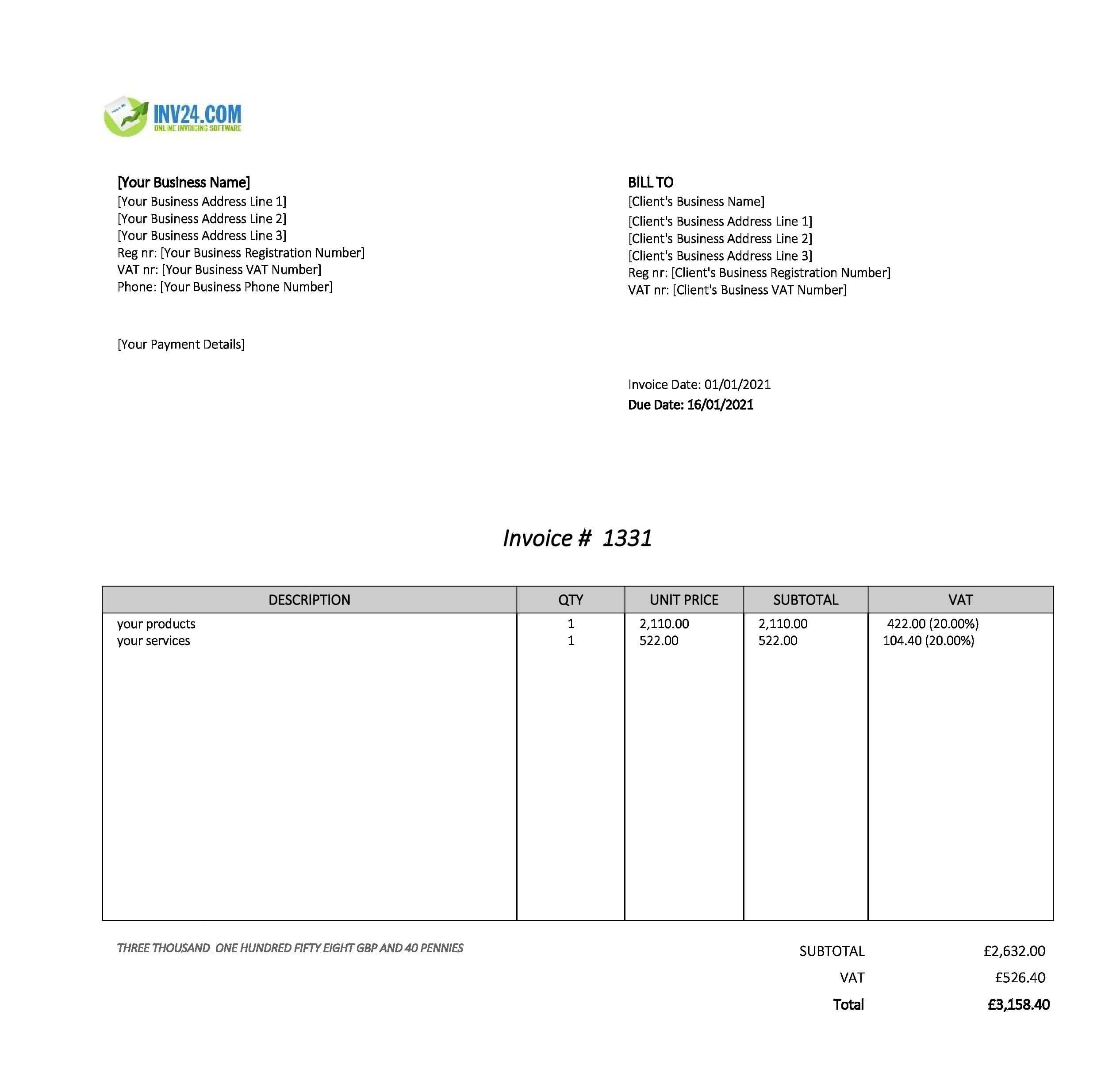invoice form uk