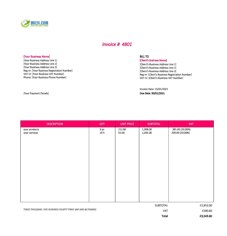 invoice model uk
