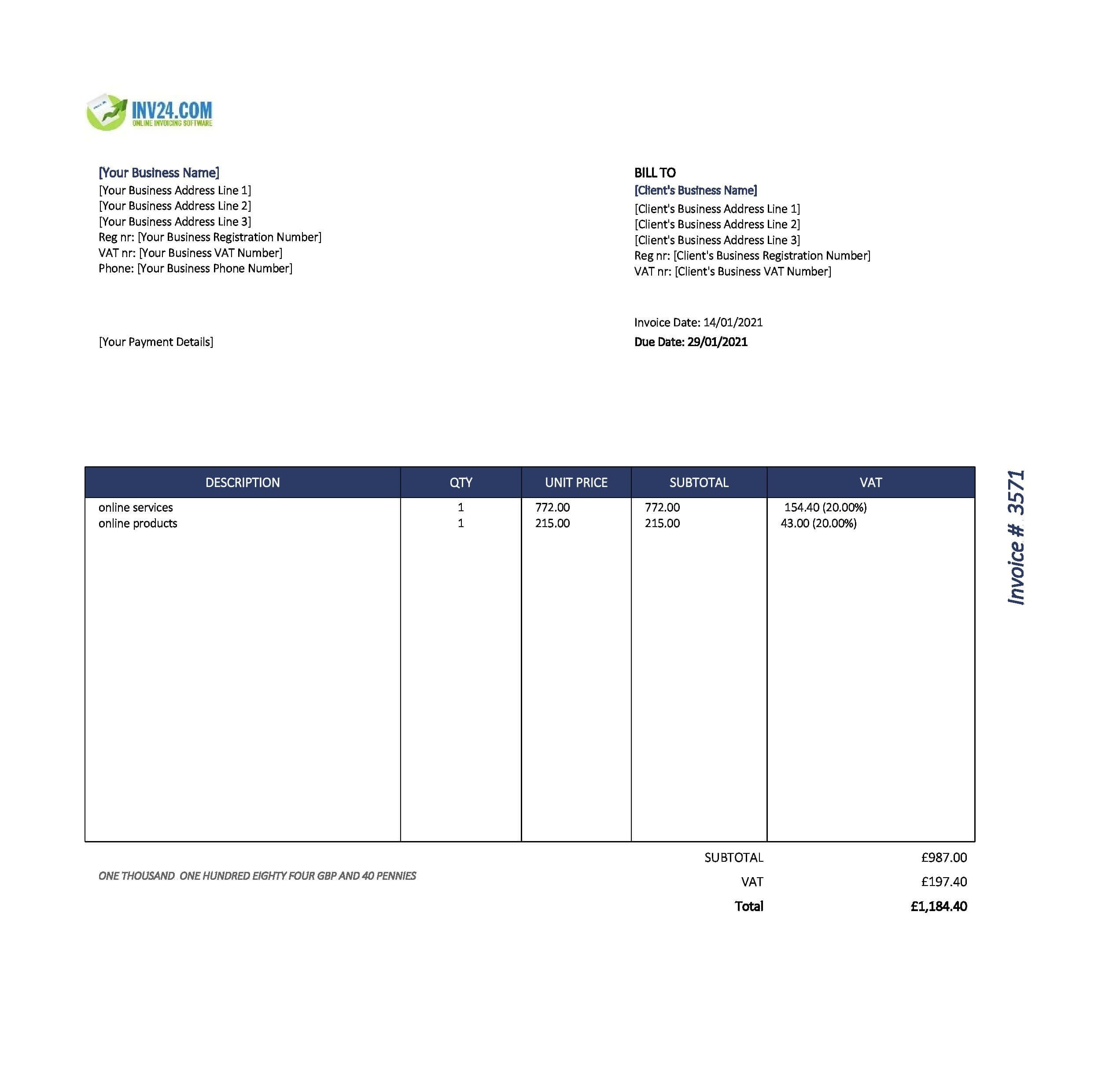 online invoice template uk
