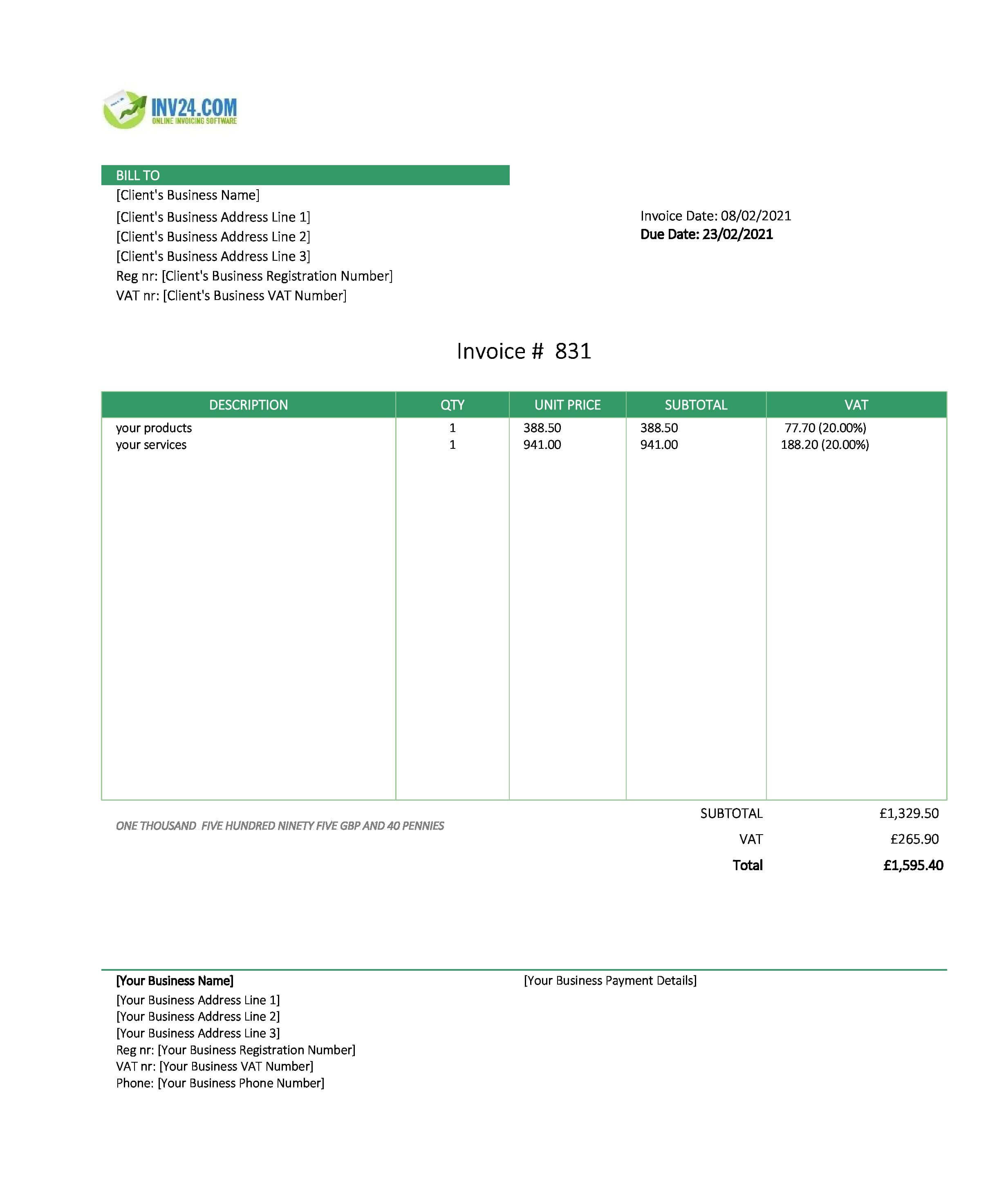 personal invoice template uk
