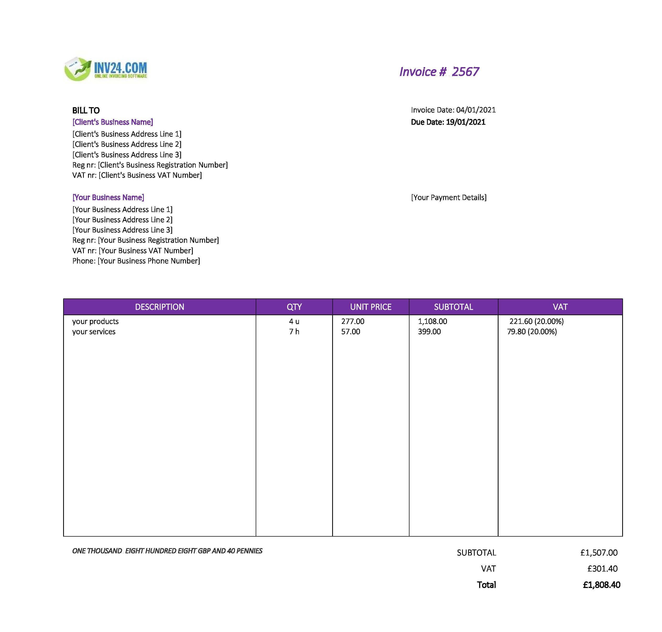 printable invoice template uk