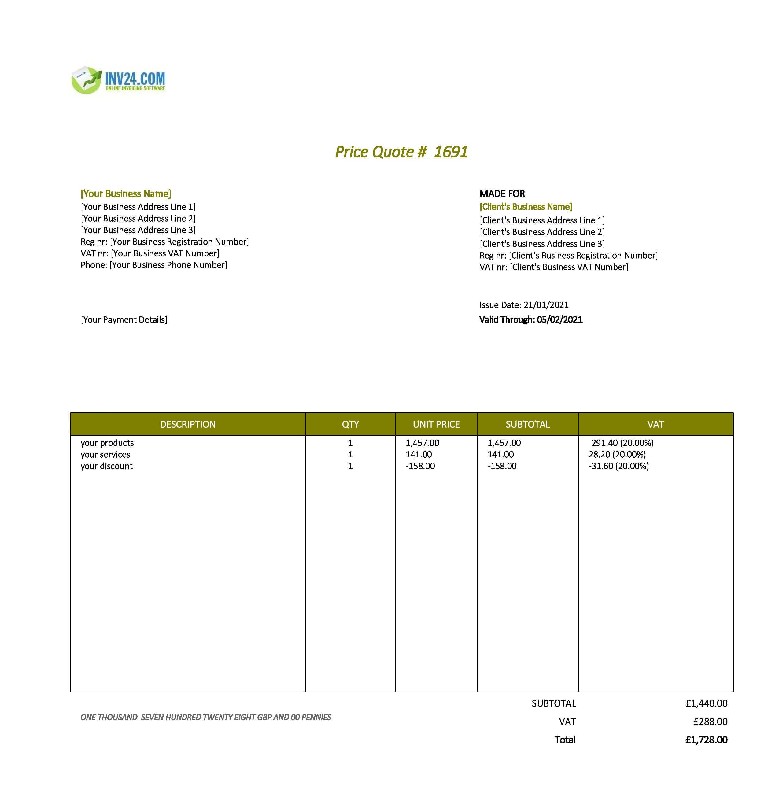 quotation template uk