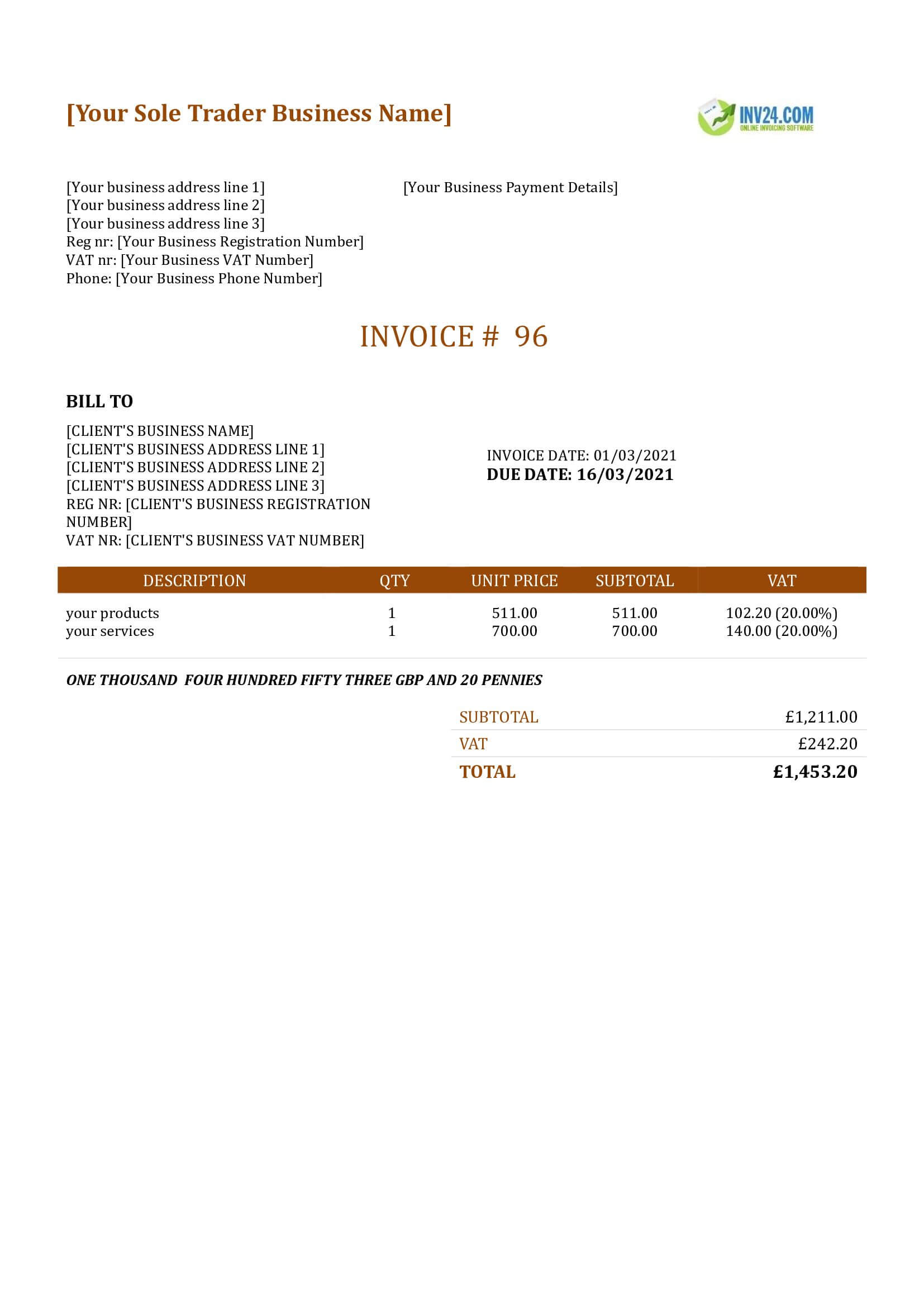 sole trader invoice template uk
