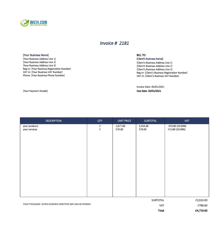 tax invoice uk