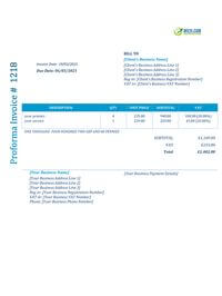 proforma invoice template uk