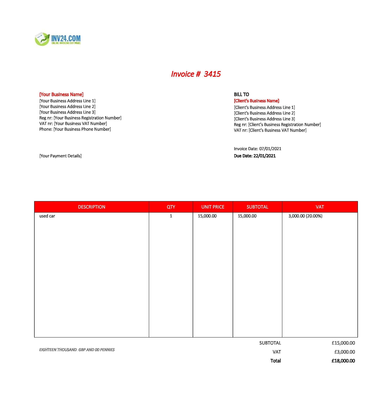 used car invoice template uk