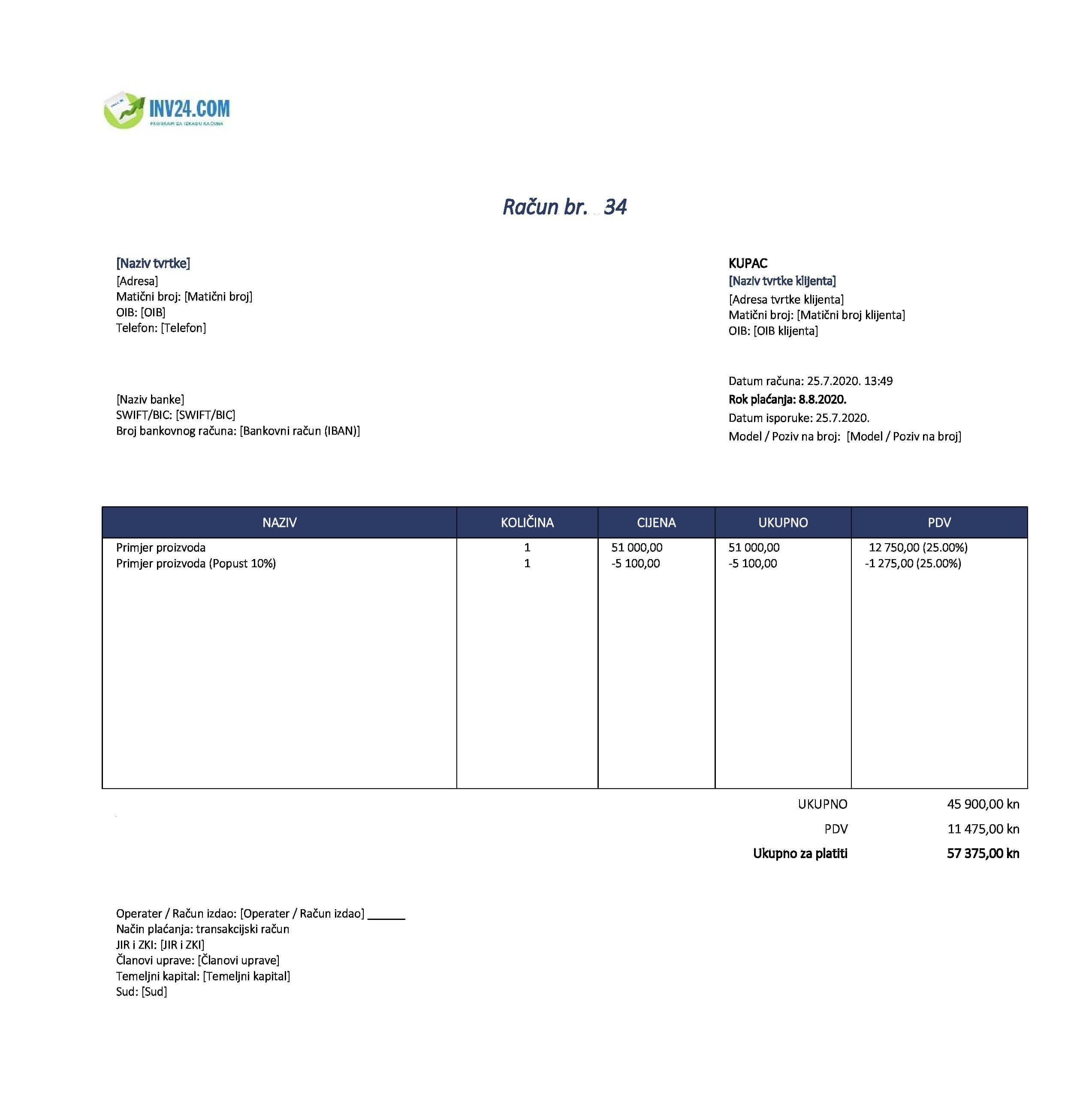 pdv faktura (račun)