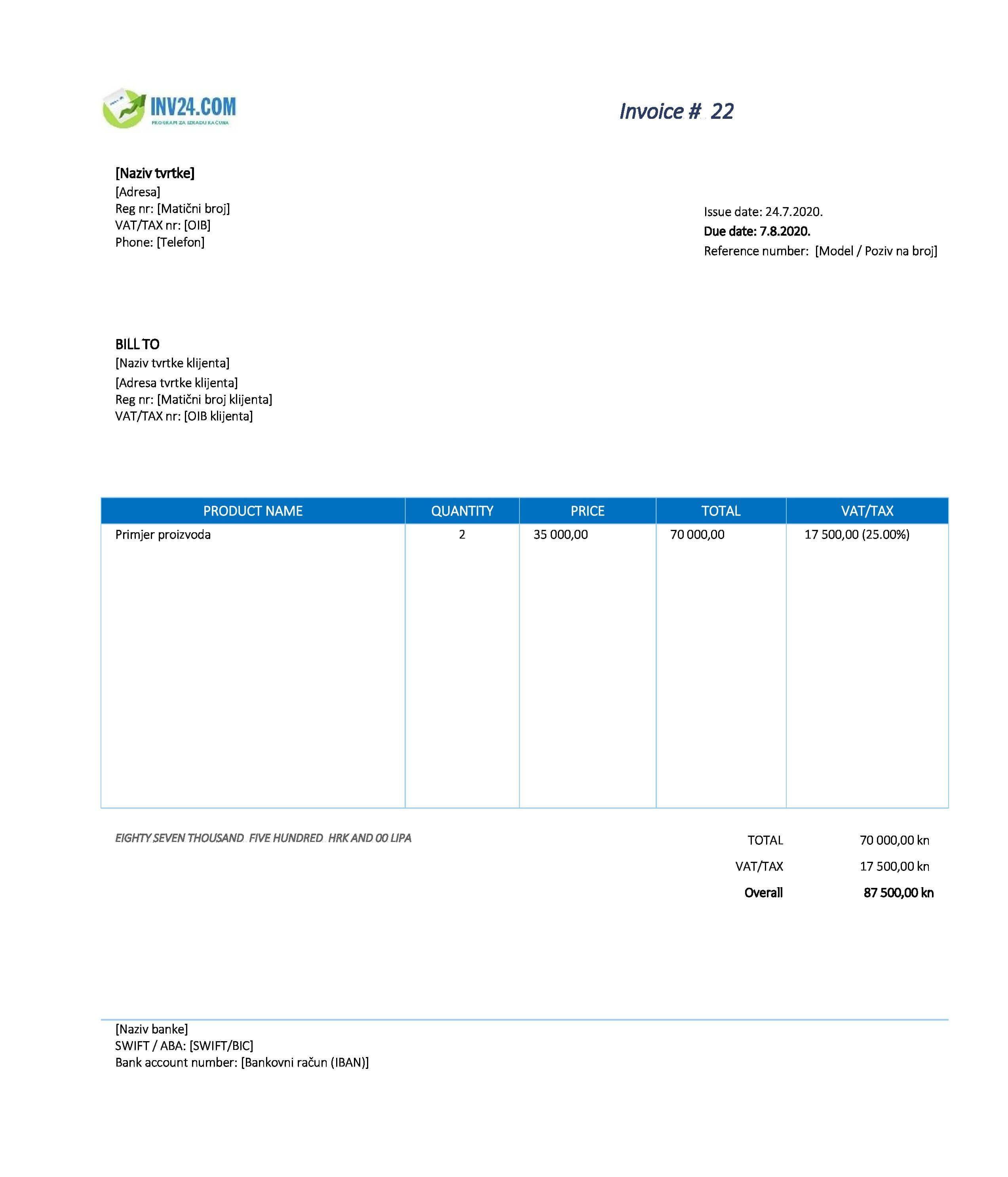 primjer računa za isporuku dobara u eu