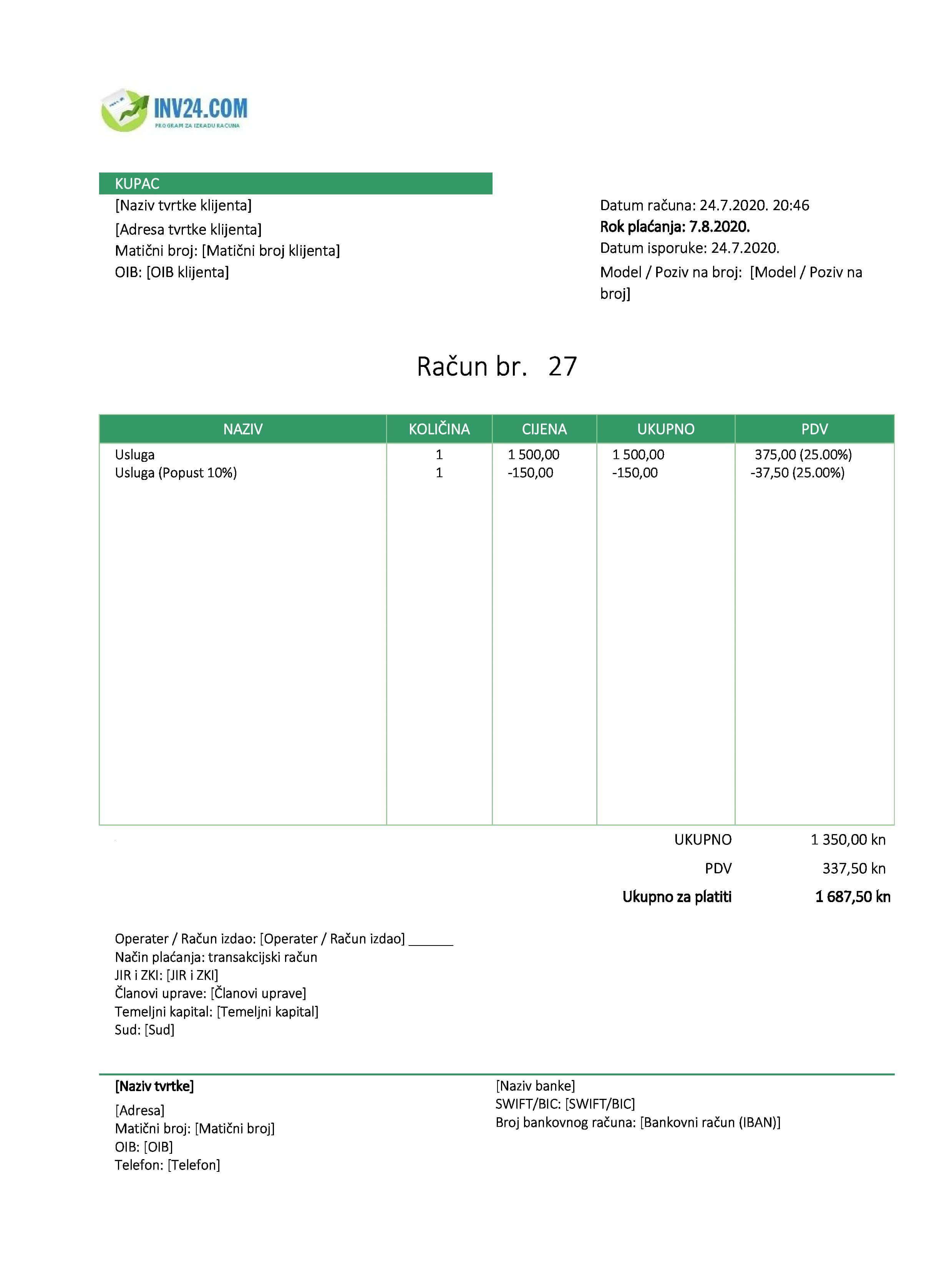 primjer fakture (računa) za usluge