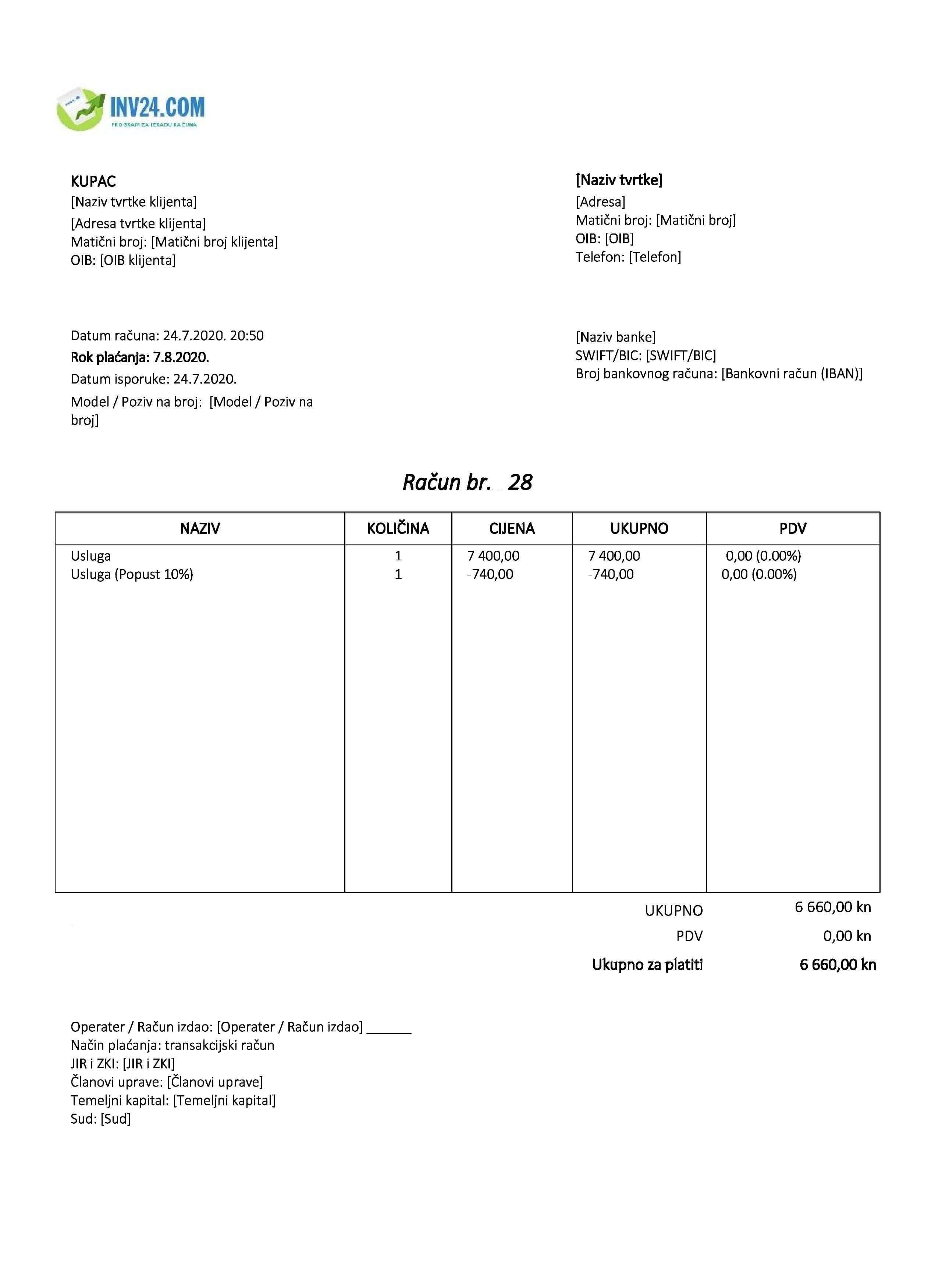 račun (faktura) bez pdv primer