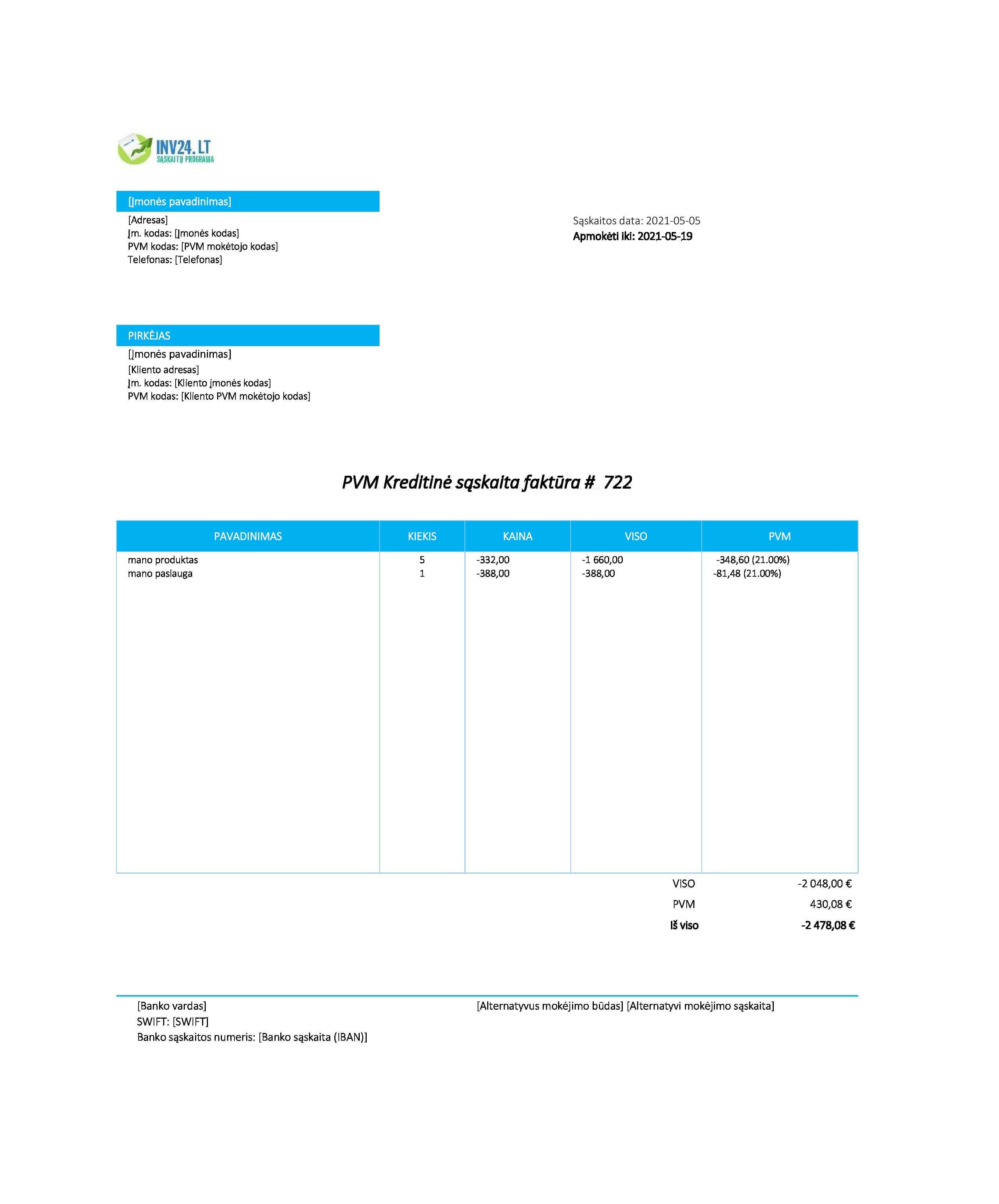 kreditinė sąskaita faktūra pavyzdys