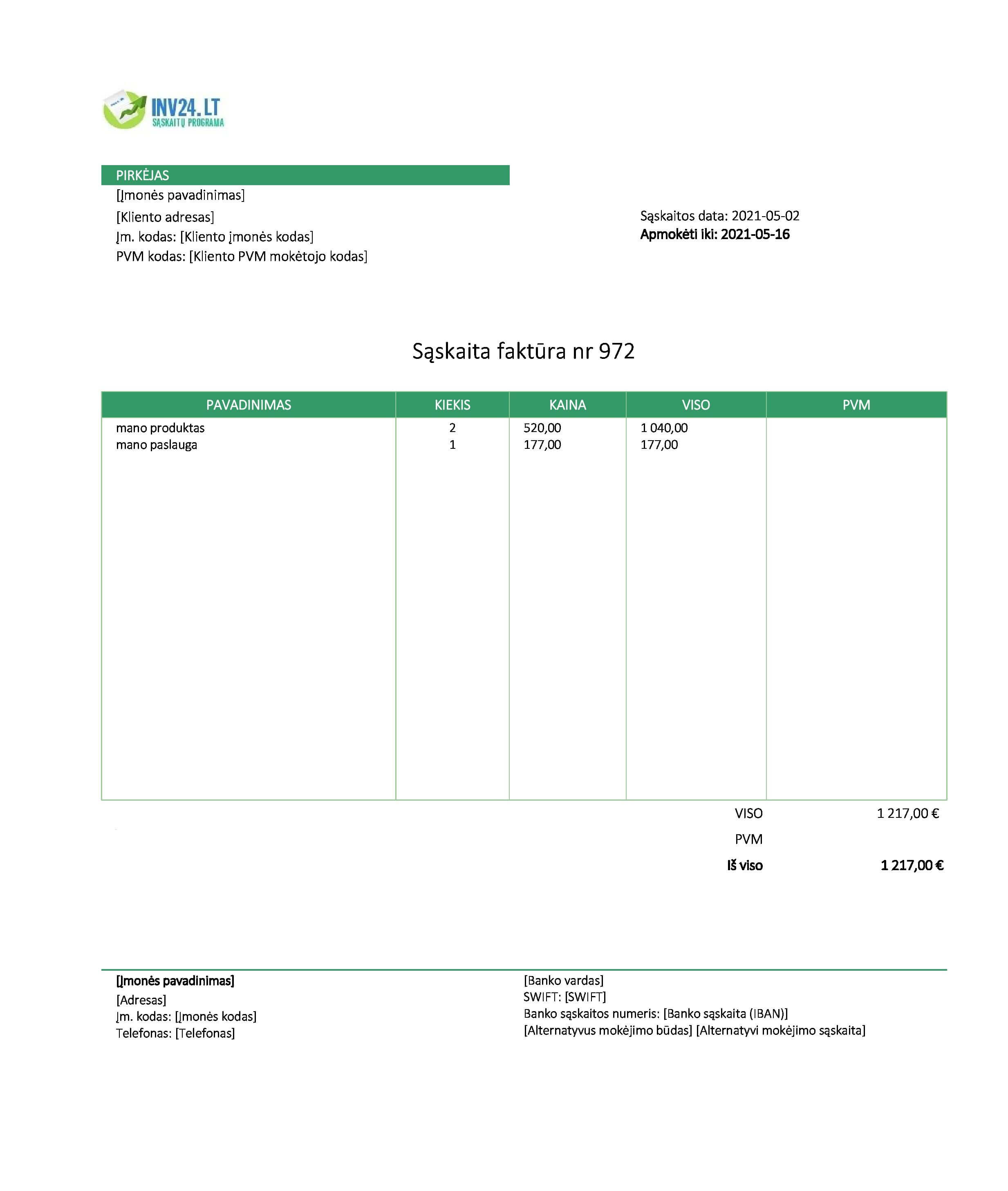 sąskaita faktūra ne pvm mokėtojas pavyzdys