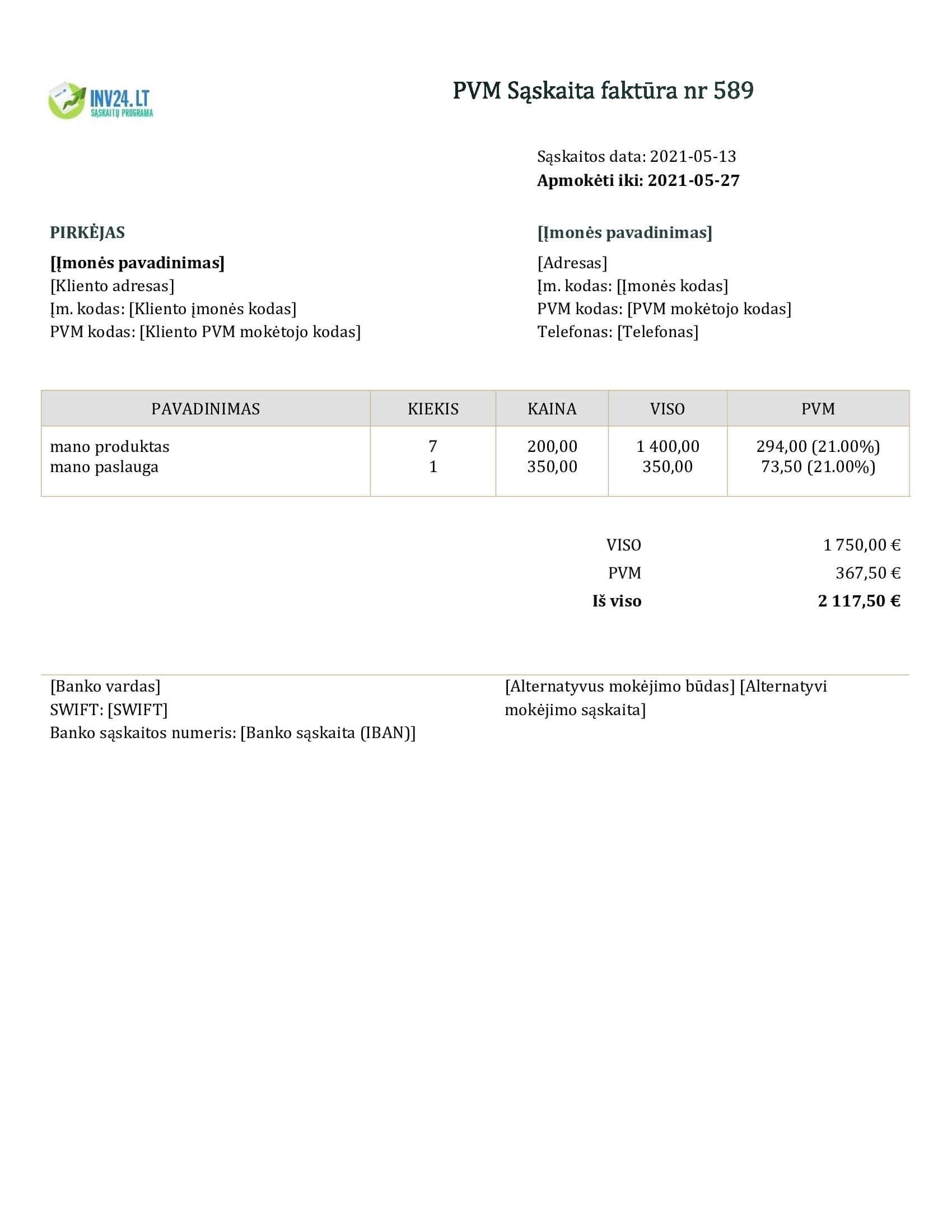 sąskaita faktūra šablonas doc