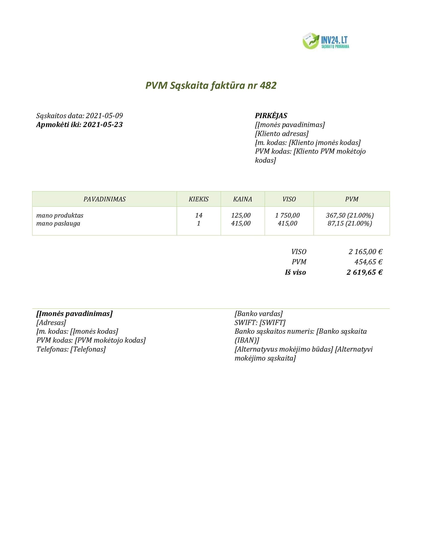 sąskaita faktūra šablonas online