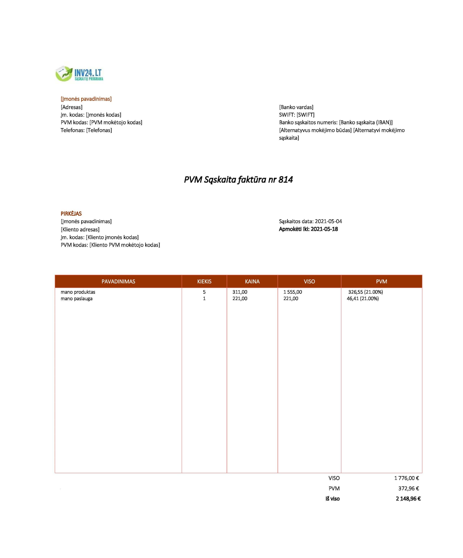 sąskaitos faktūros forma