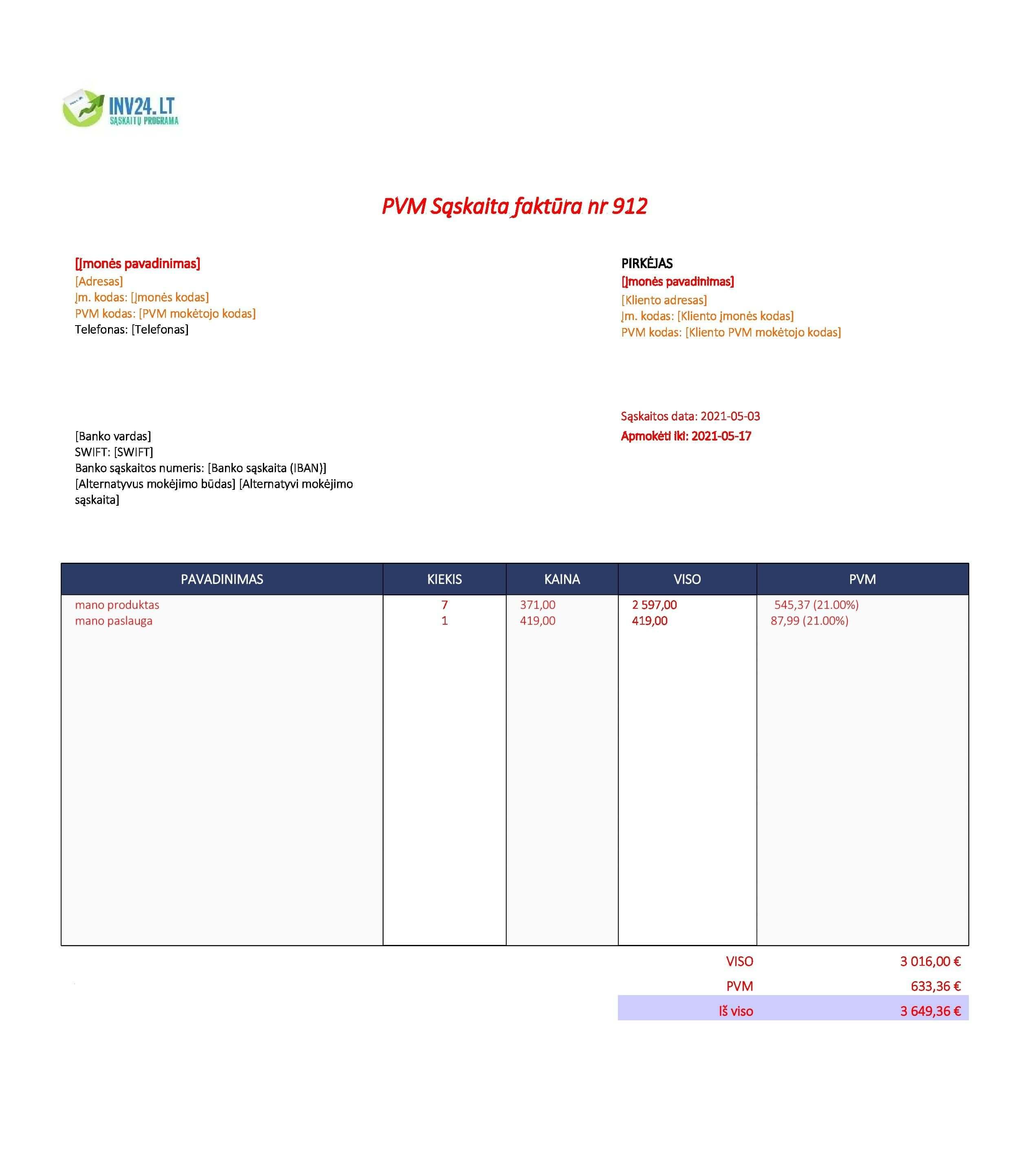sąskaitos faktūros privalomi rekvizitai forma