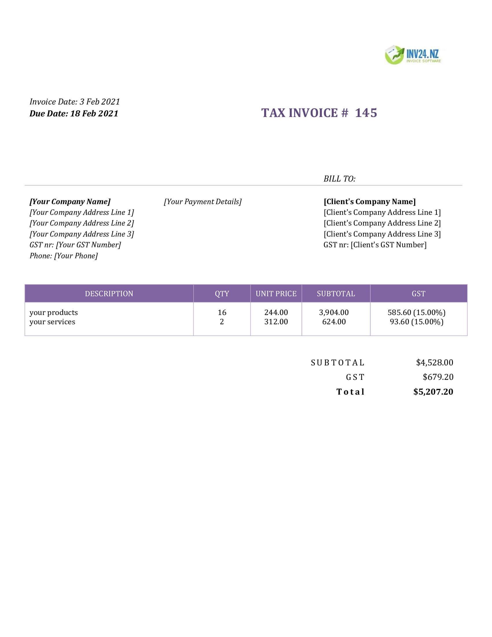 basic invoice template nz