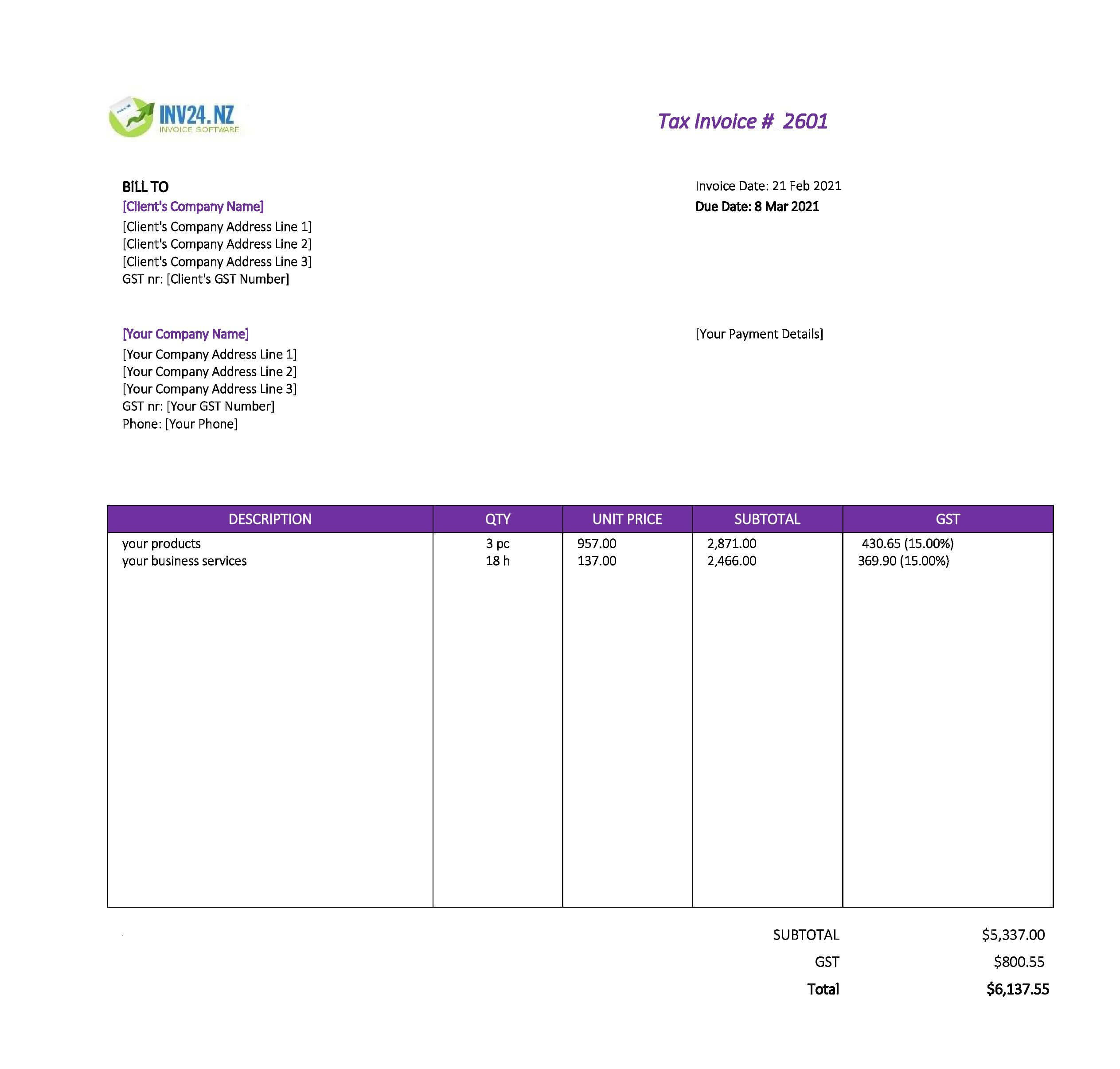 business invoice template nz