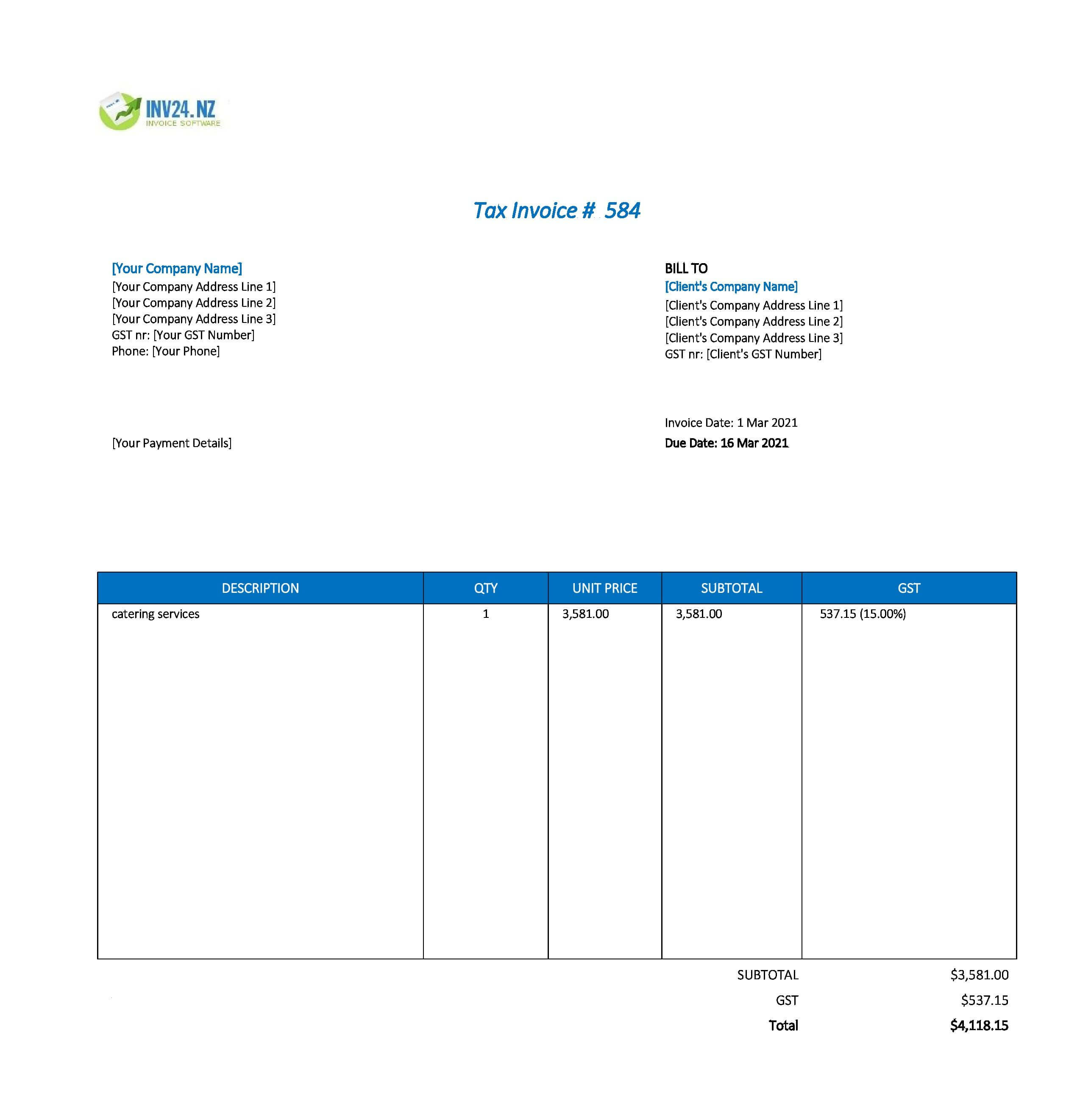 catering invoice template nz