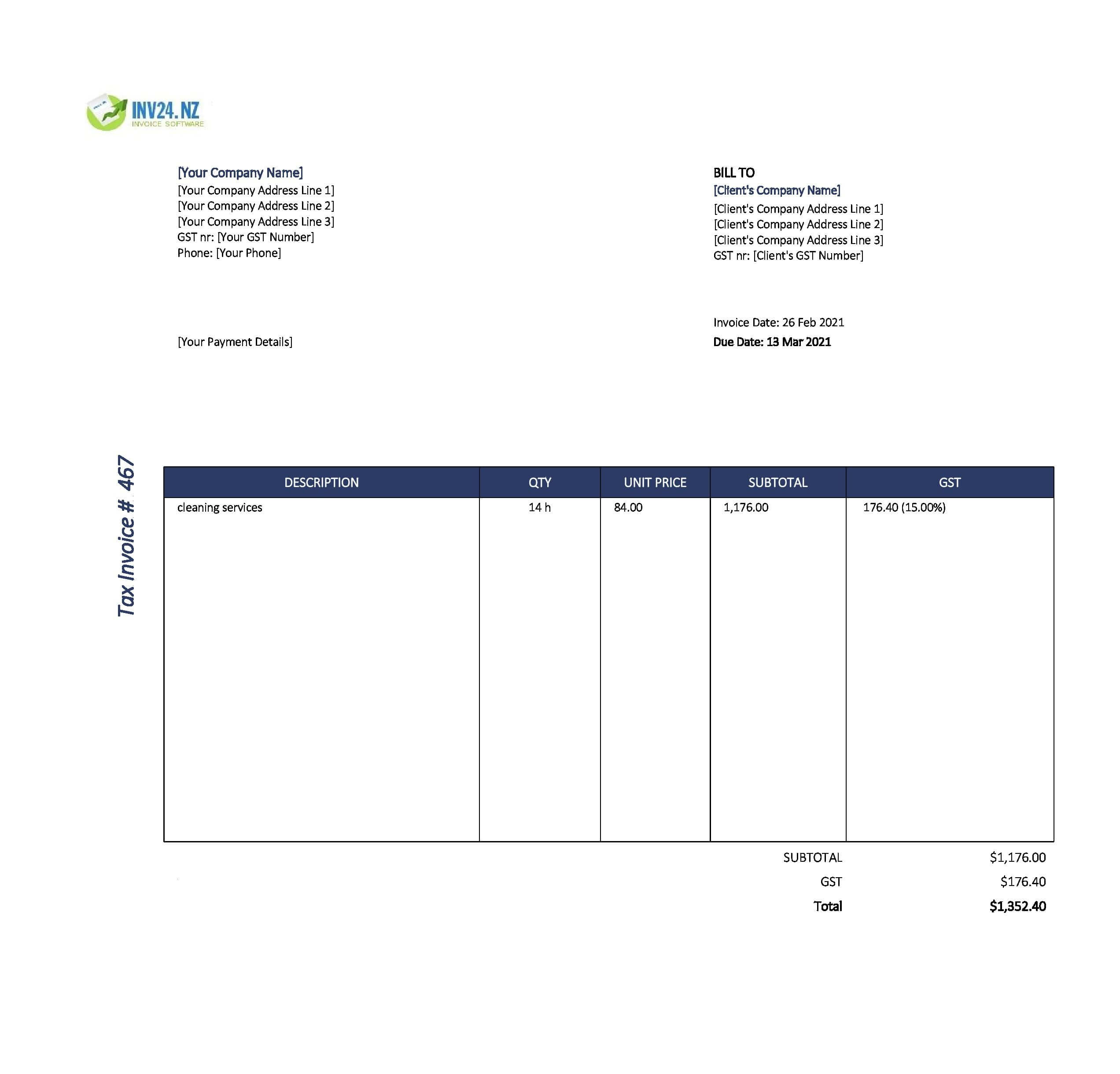 cleaning invoice template nz