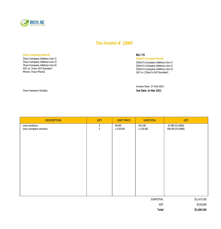 company invoice template nz
