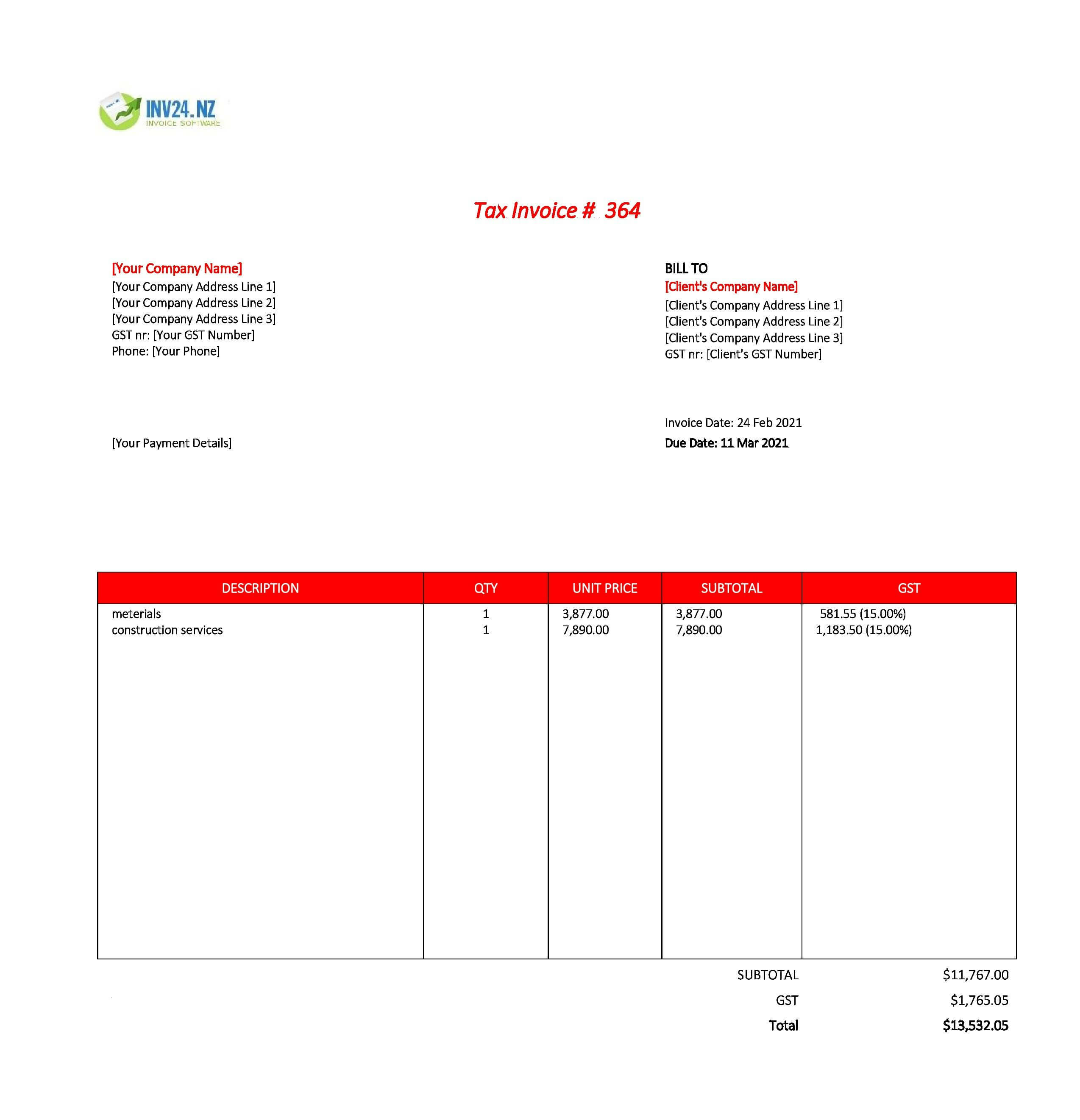 construction invoice template nz