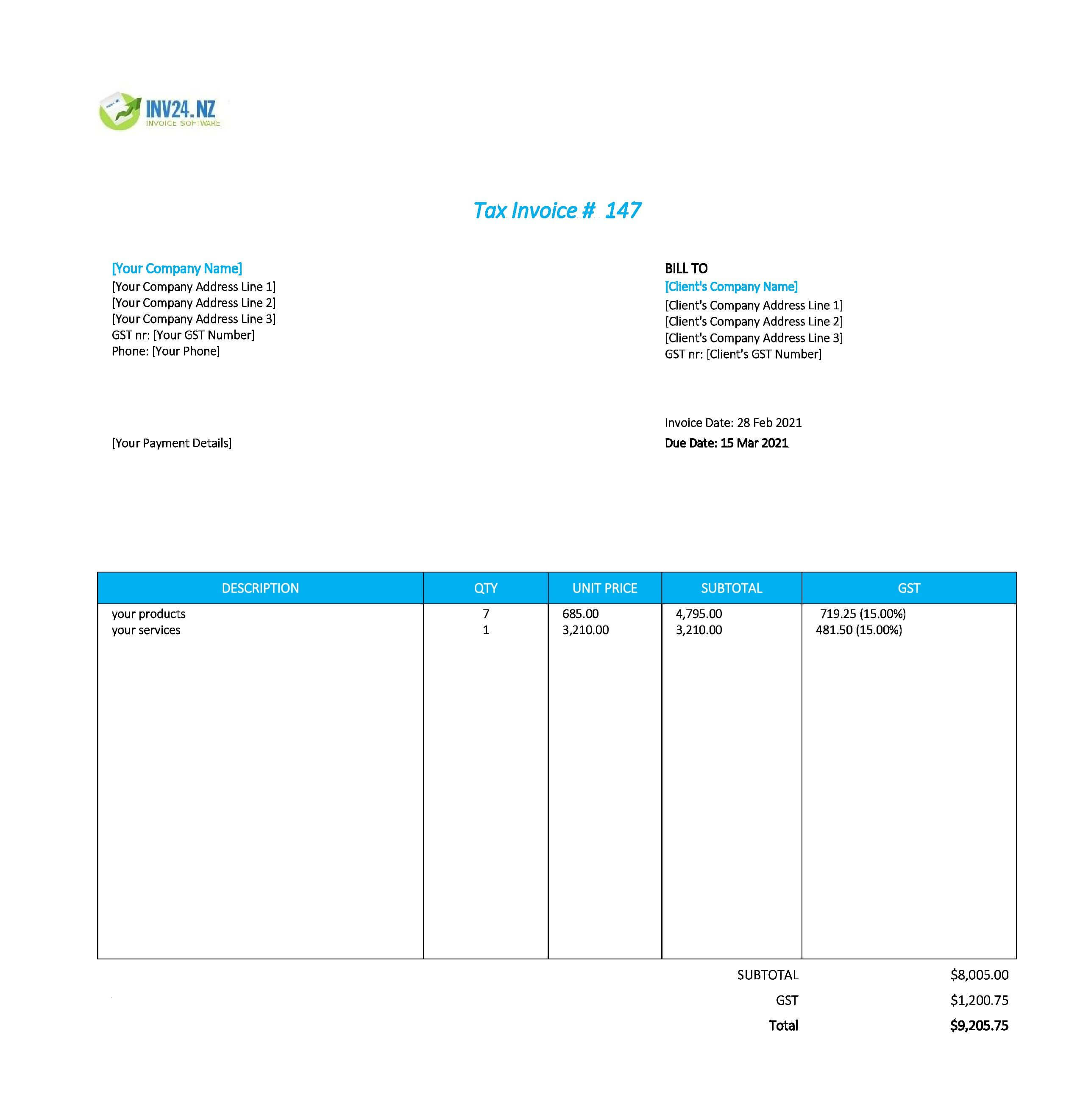 easy invoice template nz