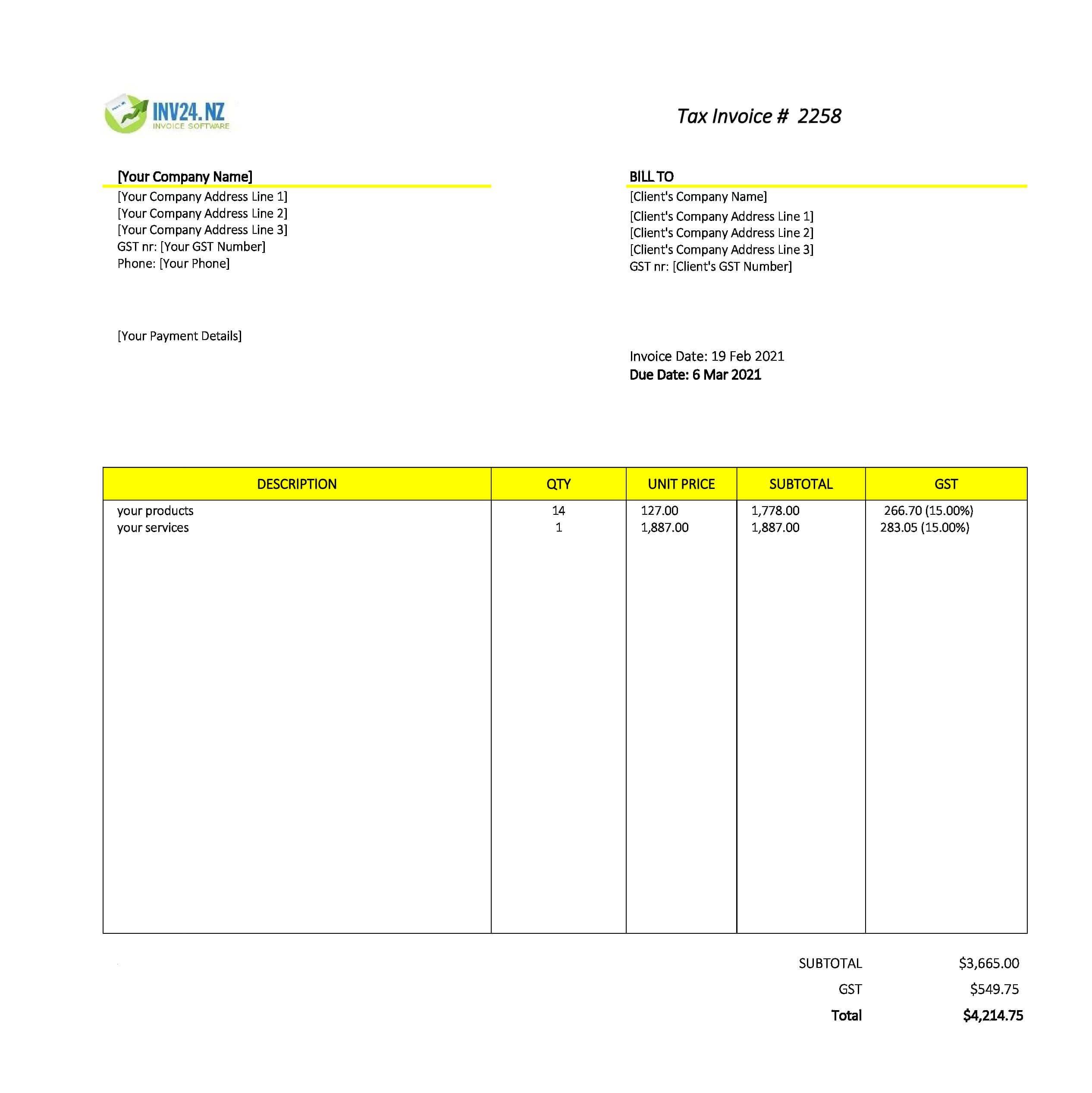 editable invoice template nz