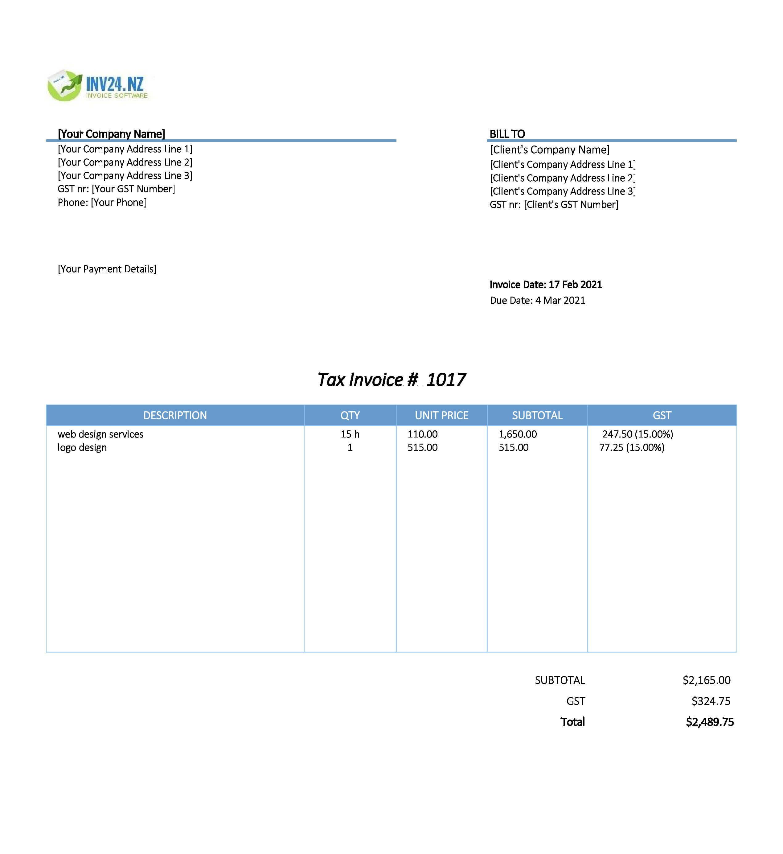 invoice design template nz