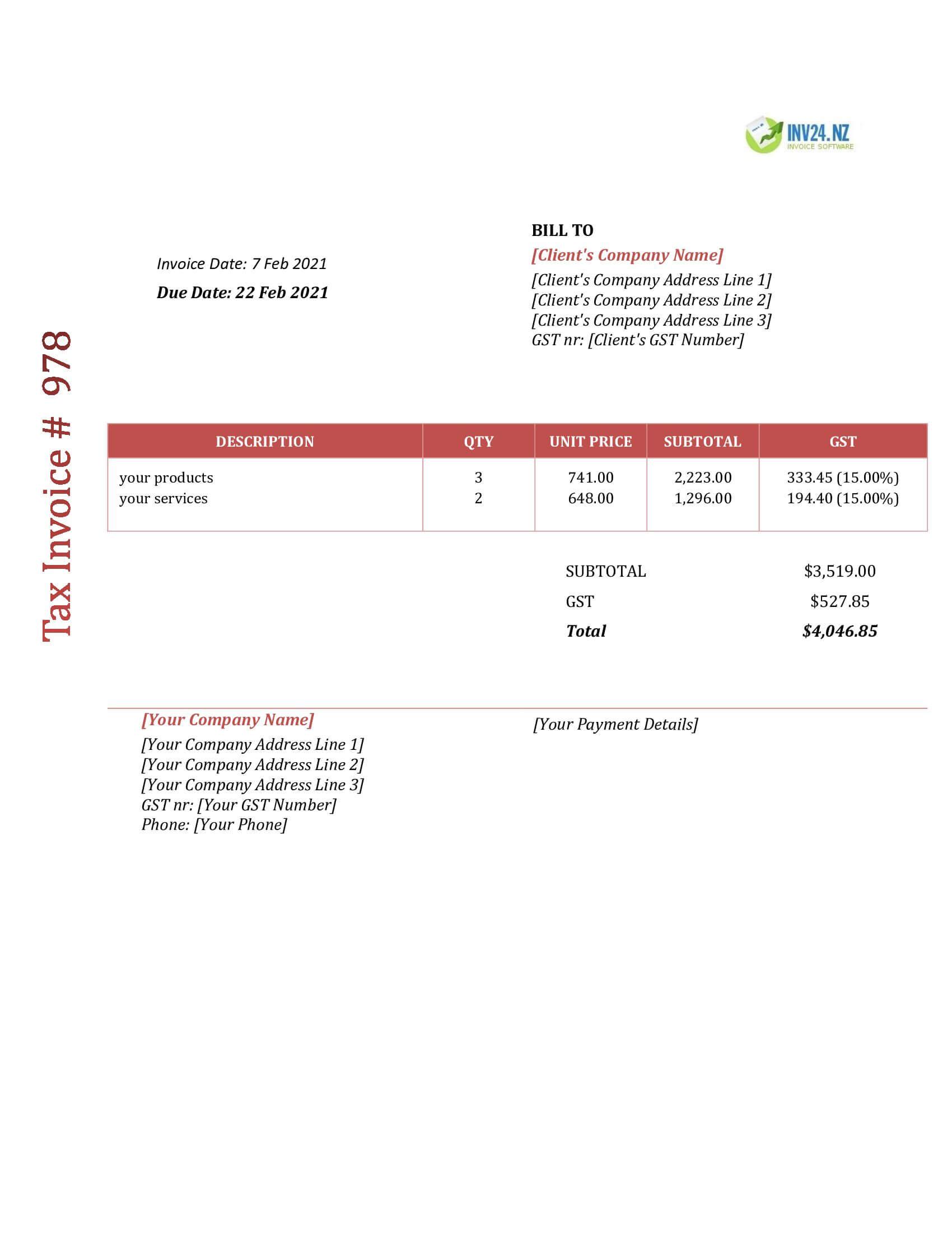 invoice format nz
