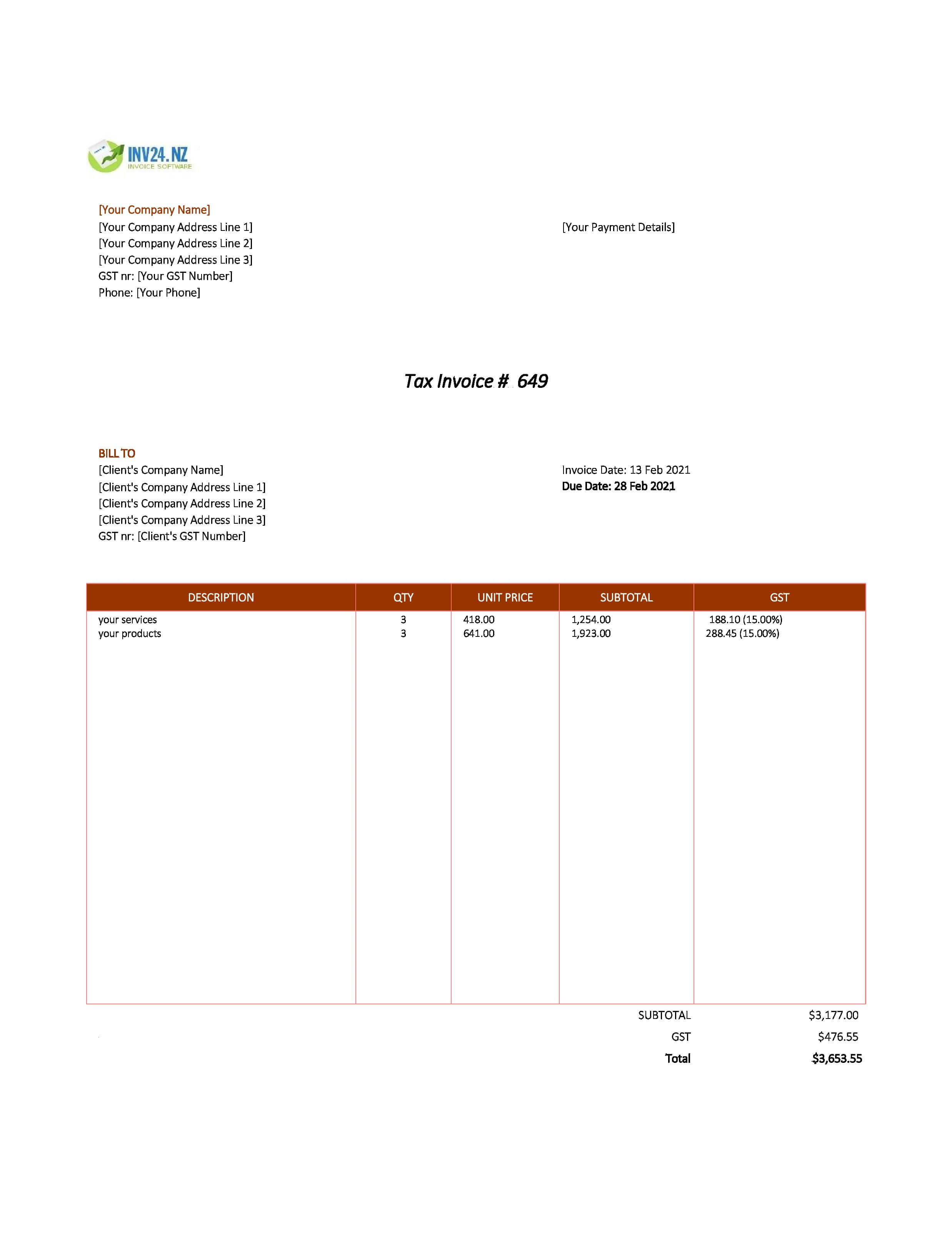 invoice layout nz