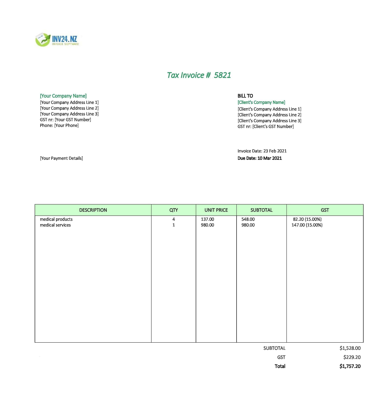 medical invoice format nz