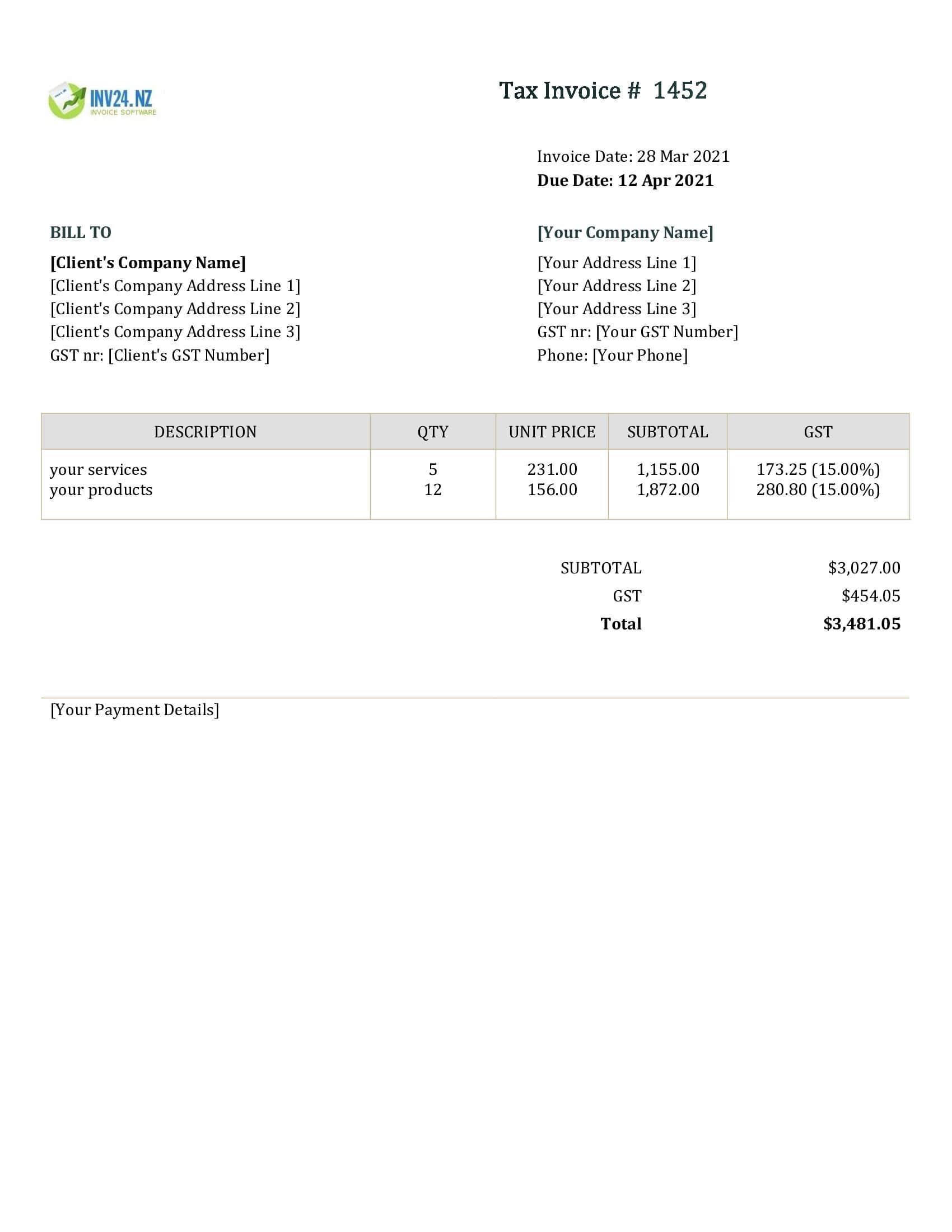 nz invoice template