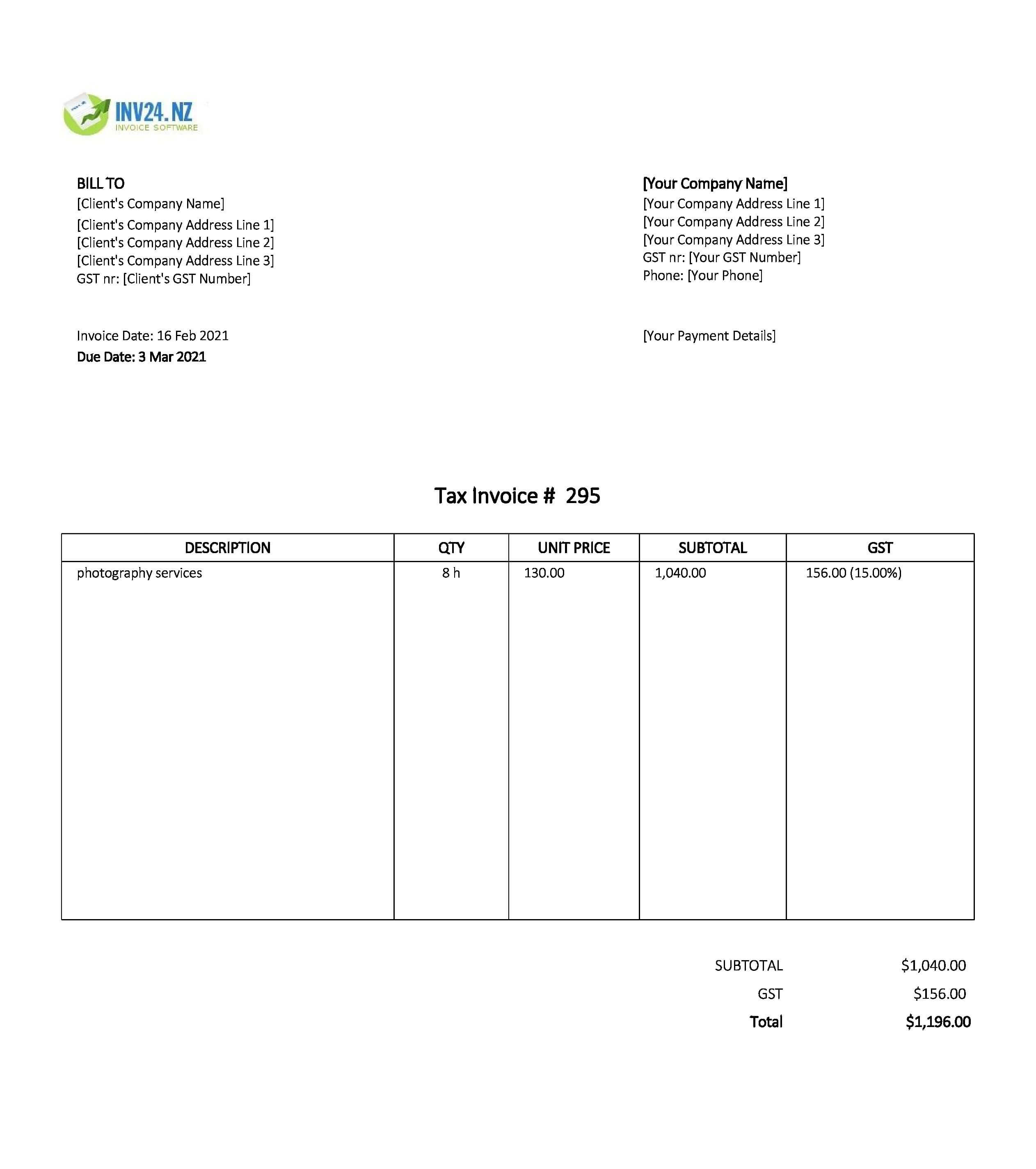 photography invoice template nz
