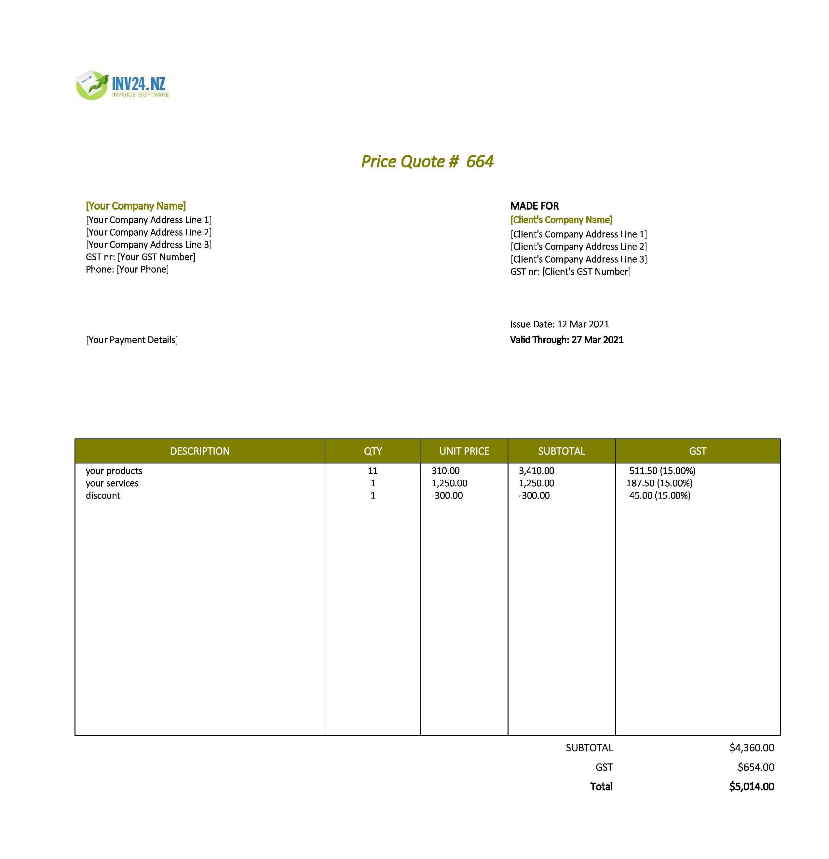 price quotation sample nz