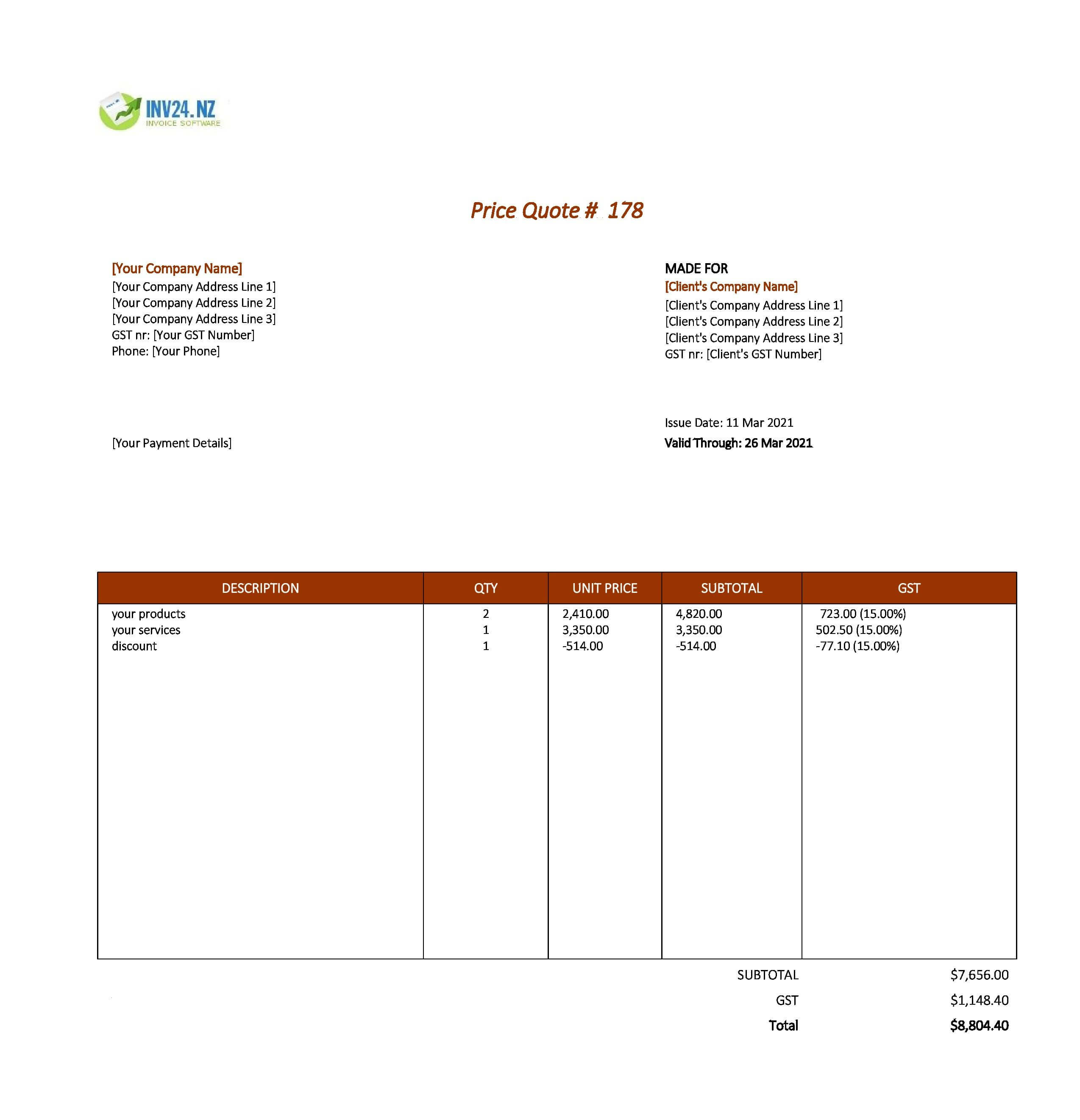 price quote template nz