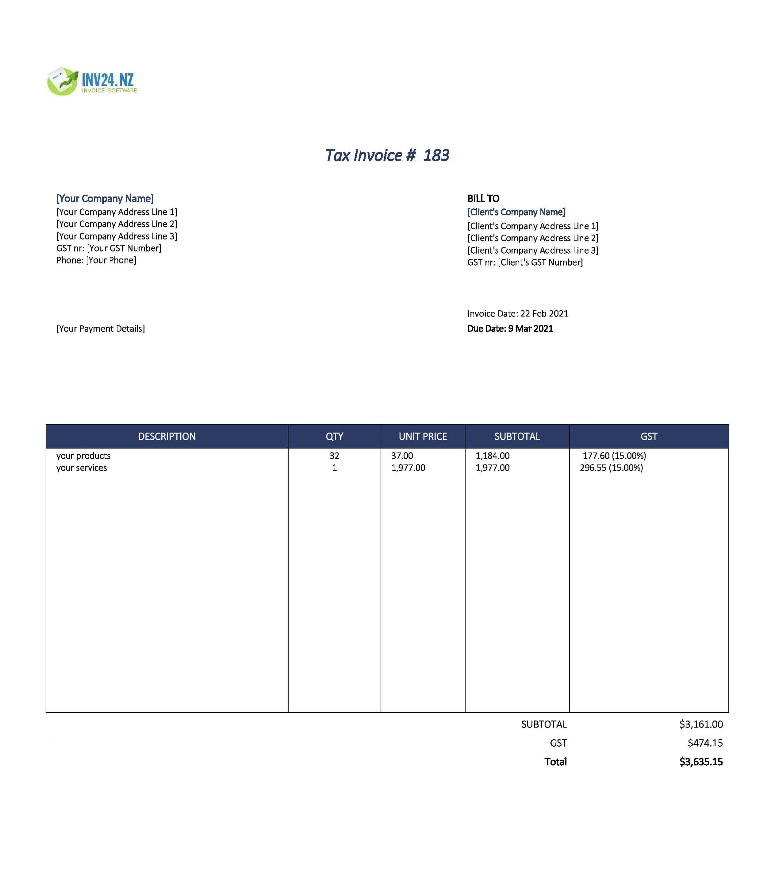 professional invoice template nz