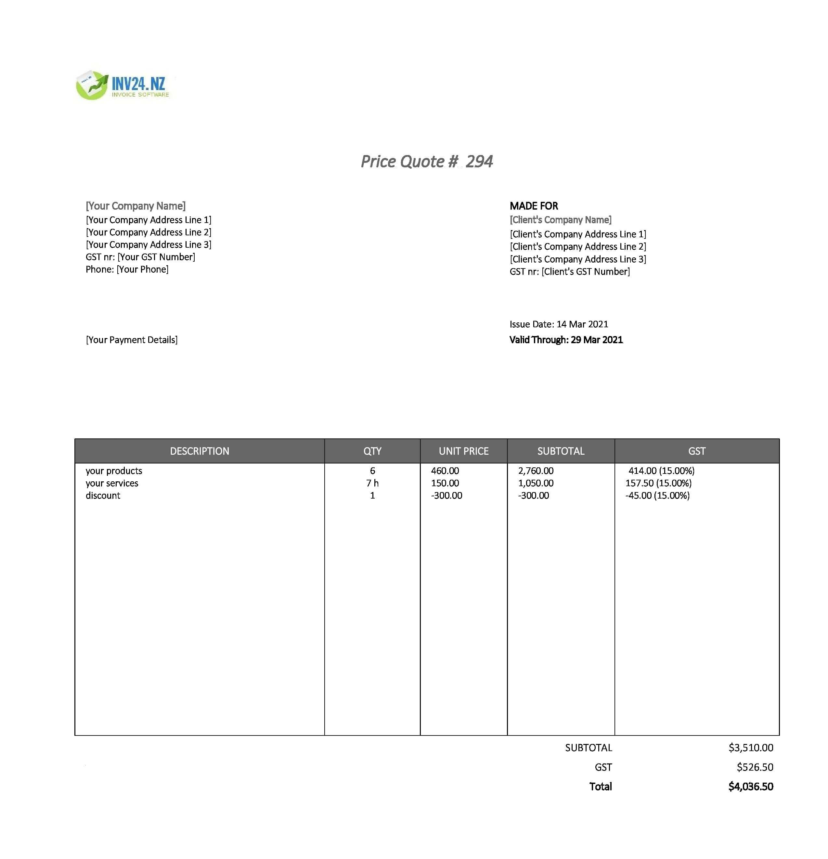quotation bill format nz