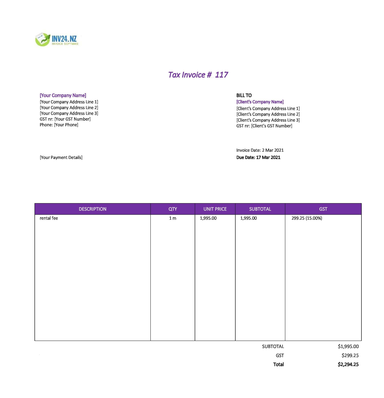 rent invoice template nz